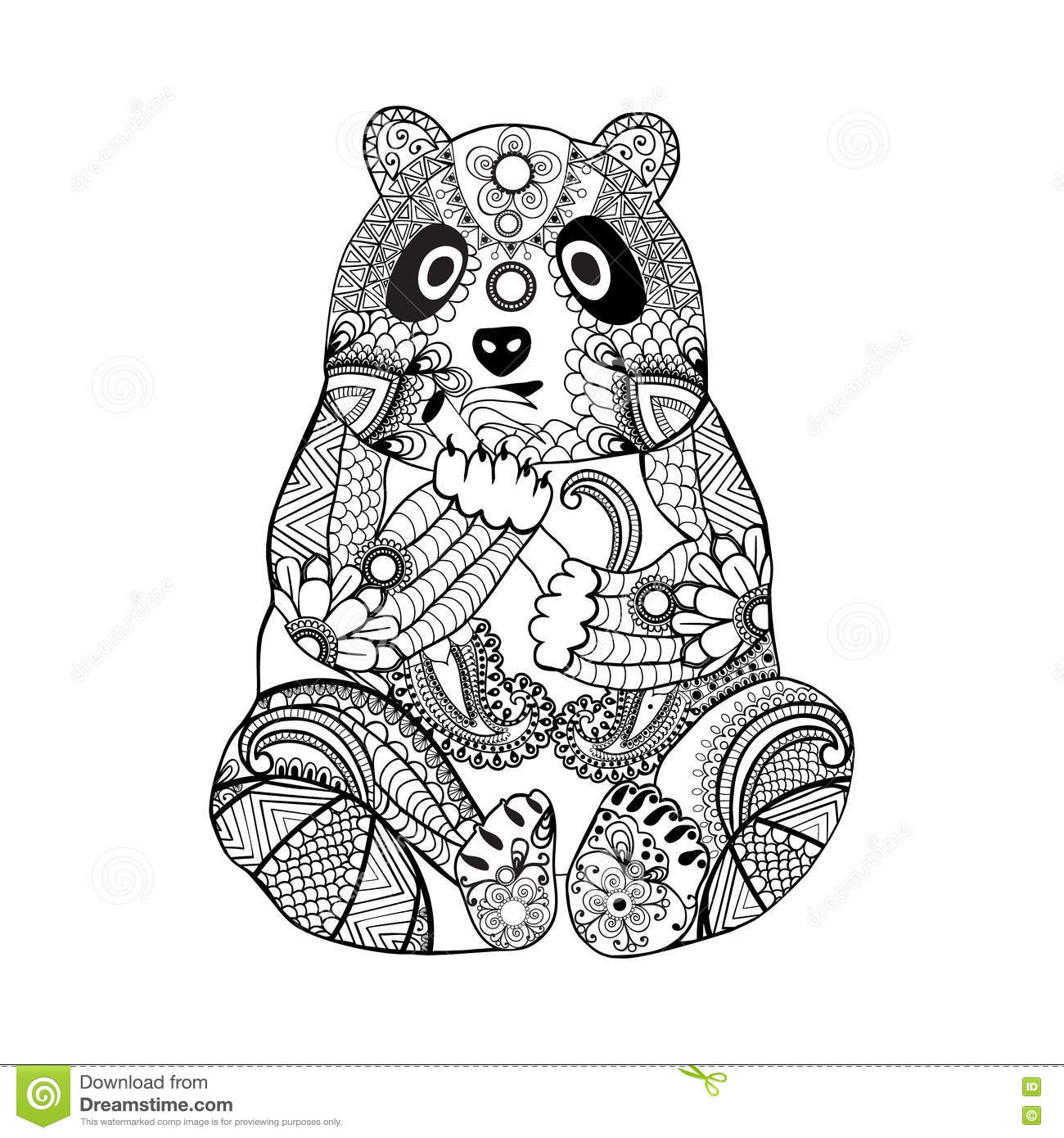 Hand Drawn Zentangle Panda For Coloring Book For Adult Stock Vector ...