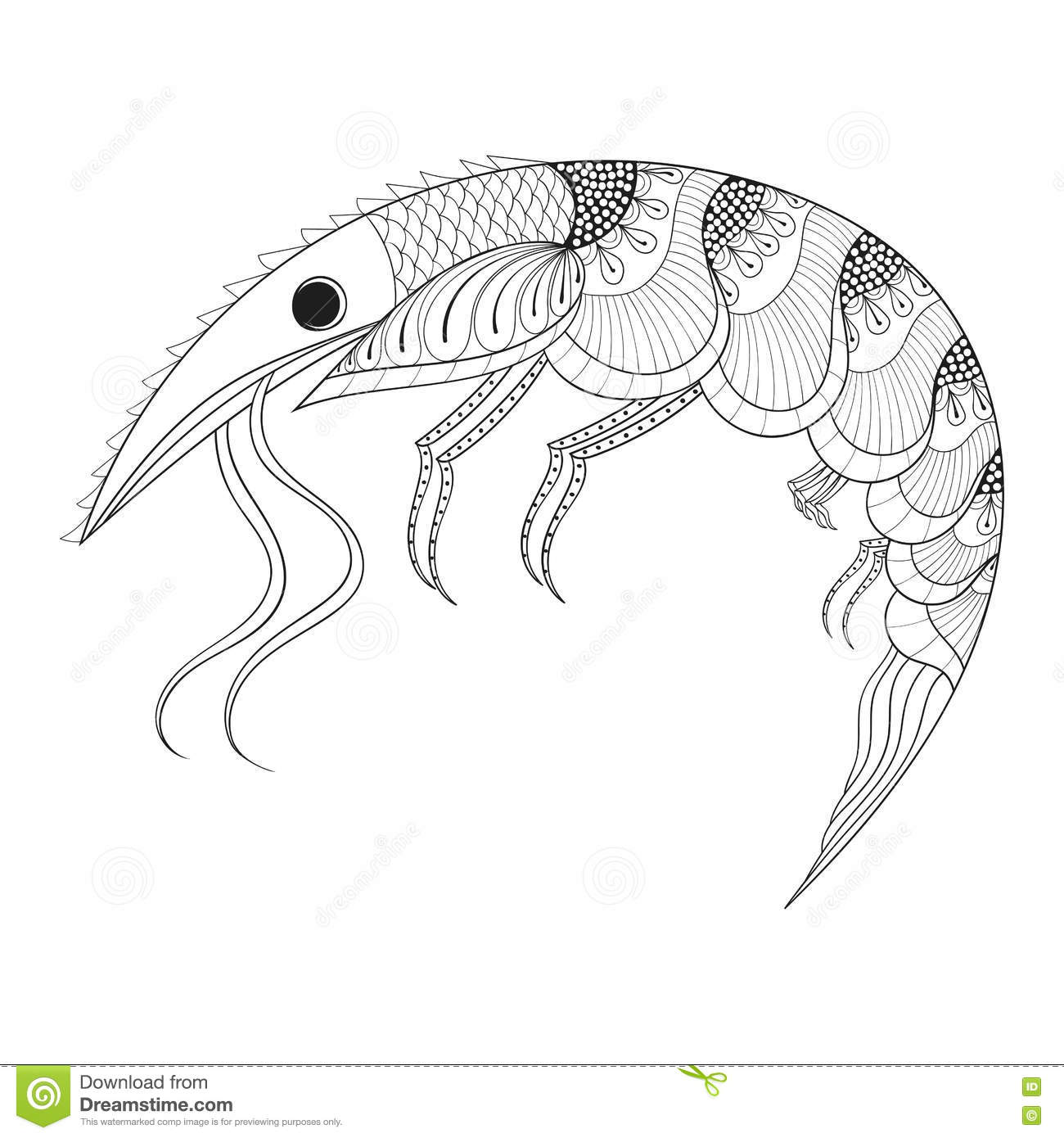 Coloring page 747 - Hand Drawn Zentangle Shrimp For Adult Anti Stress Coloring Pages