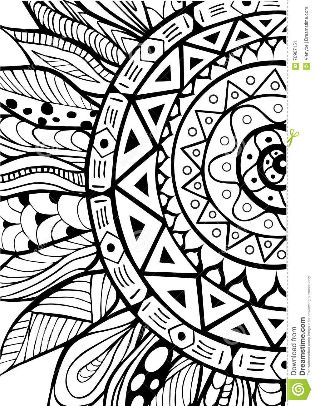 Hand Drawn Zentangle Sunflowers Ornament For Coloring Book ...
