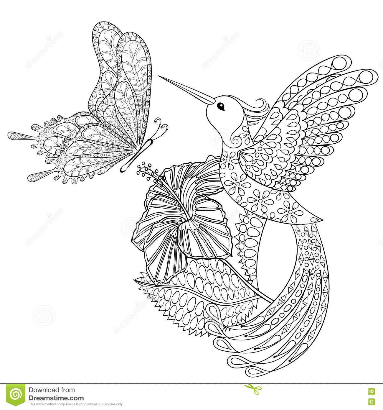 Hand Drawn Zentangle Tribal Flying Butterfly, Hummingbird ...