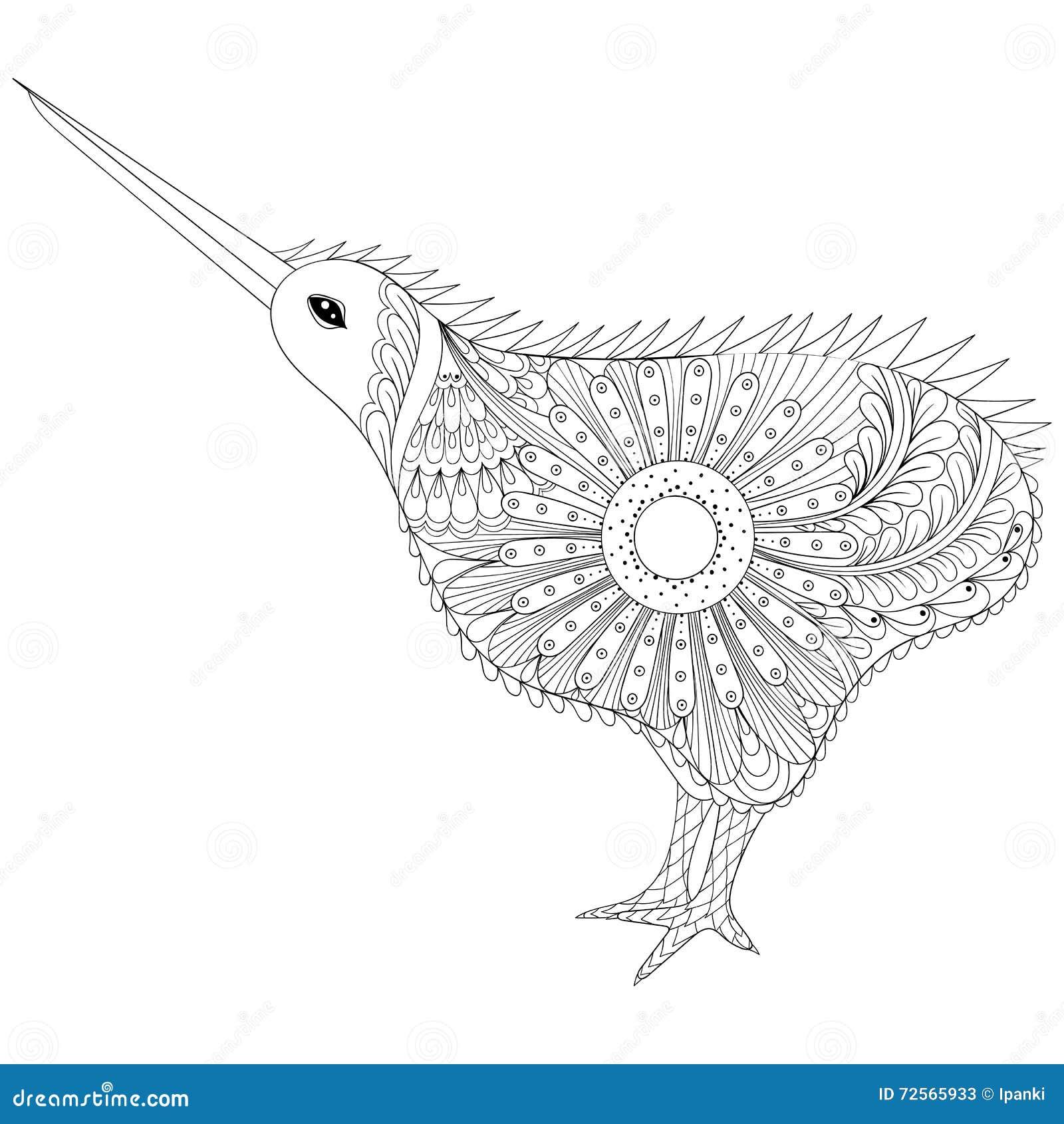 Hand Drawn Zentangle Tribal Kiwi Bird Symbol Of New Zealand For