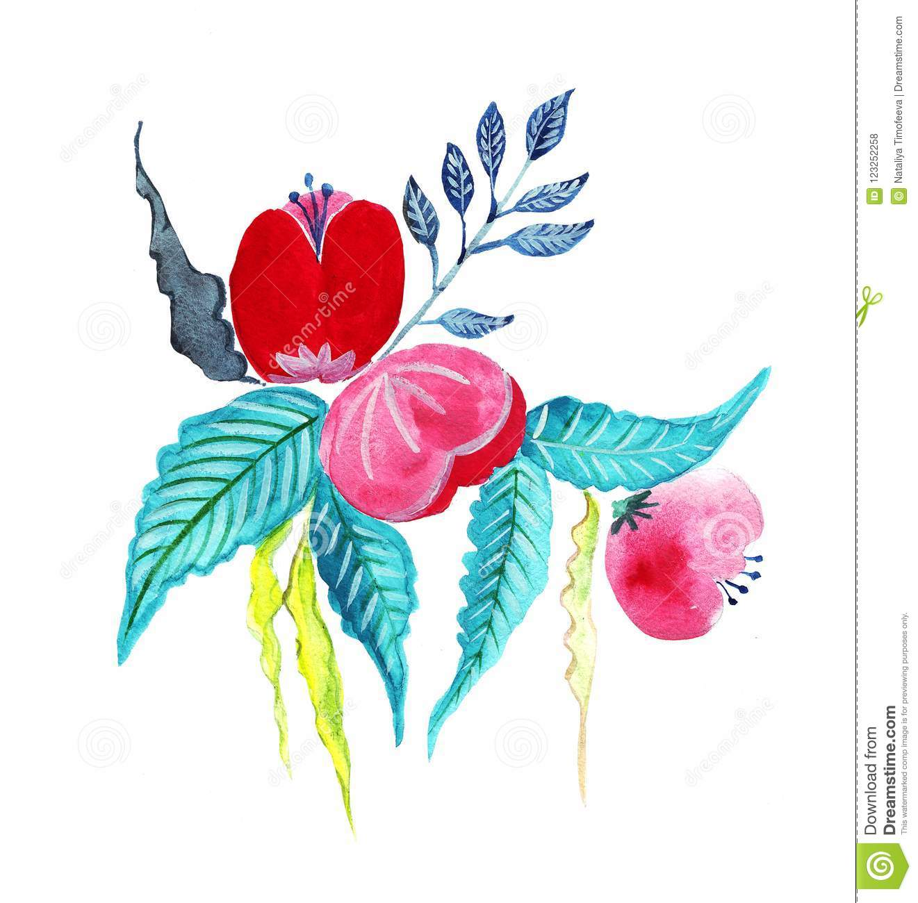Hand Drawning Watercolor Of A Bouquet Of Flowers Stock Illustration