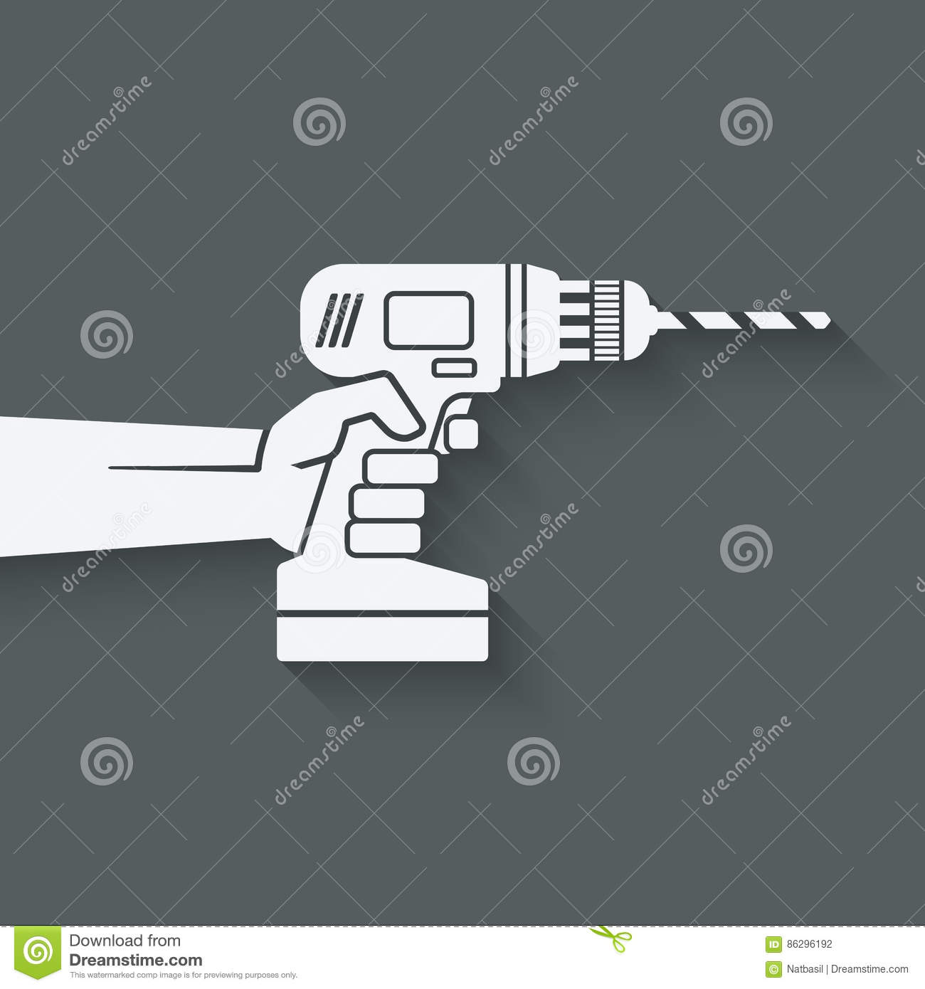Hand With Drill Repair Concept Stock Vector Illustration Of