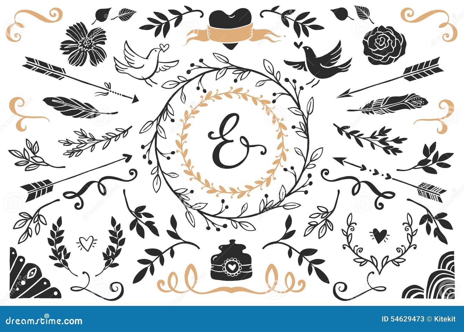 Hand drog dekorativa beståndsdelar för tappning med bokstäver