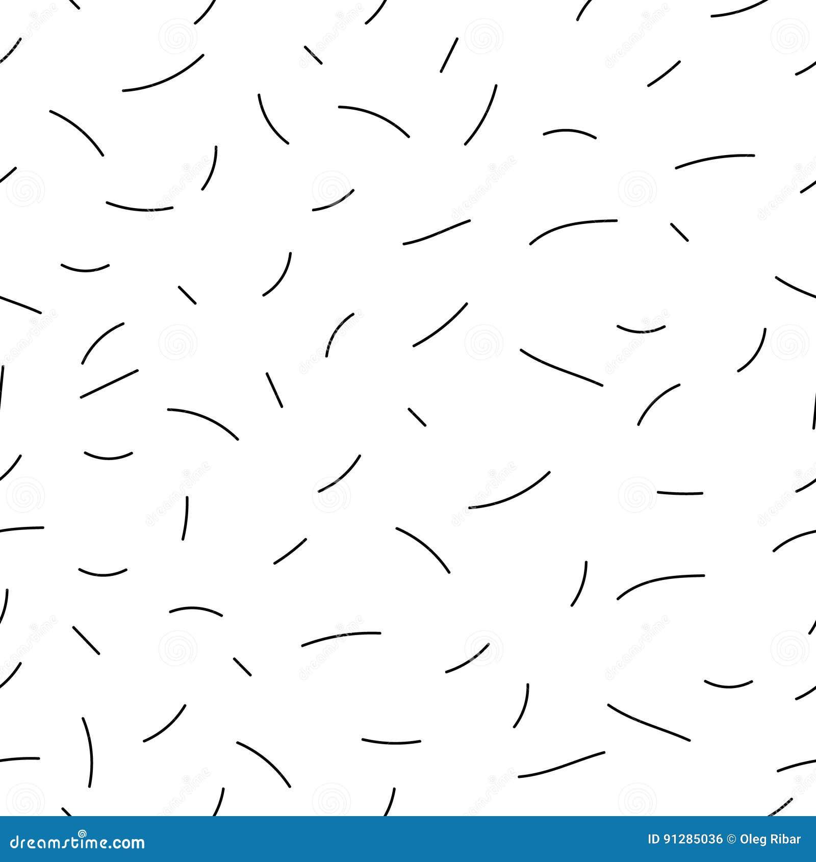 Hand-drog linjer sömlös bakgrund - tecknad filmvektorbeståndsdelar av kurvor, slaglängder och översikter