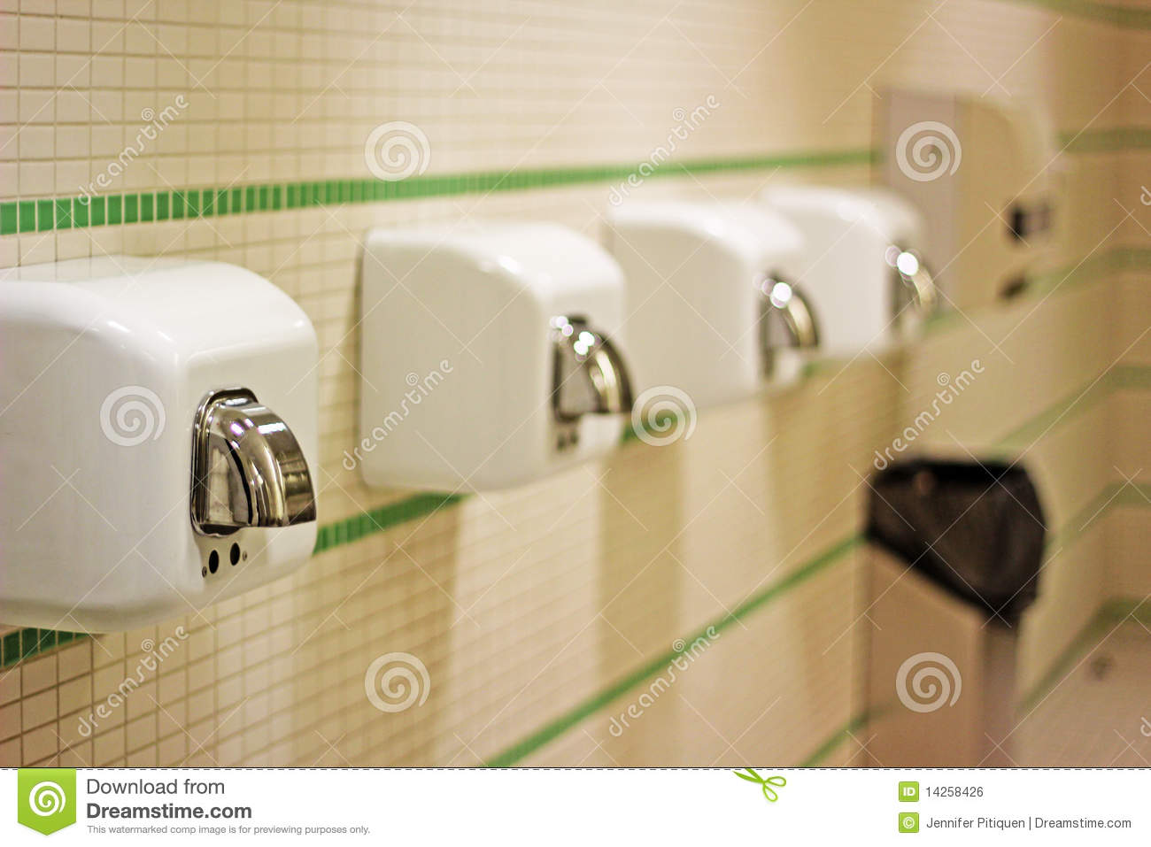 Use hand dryers instead of paper towels in the bathroom - Image courtesy of http://thumbs.dreamstime.com/z/hand-dryer-14258426.jpg