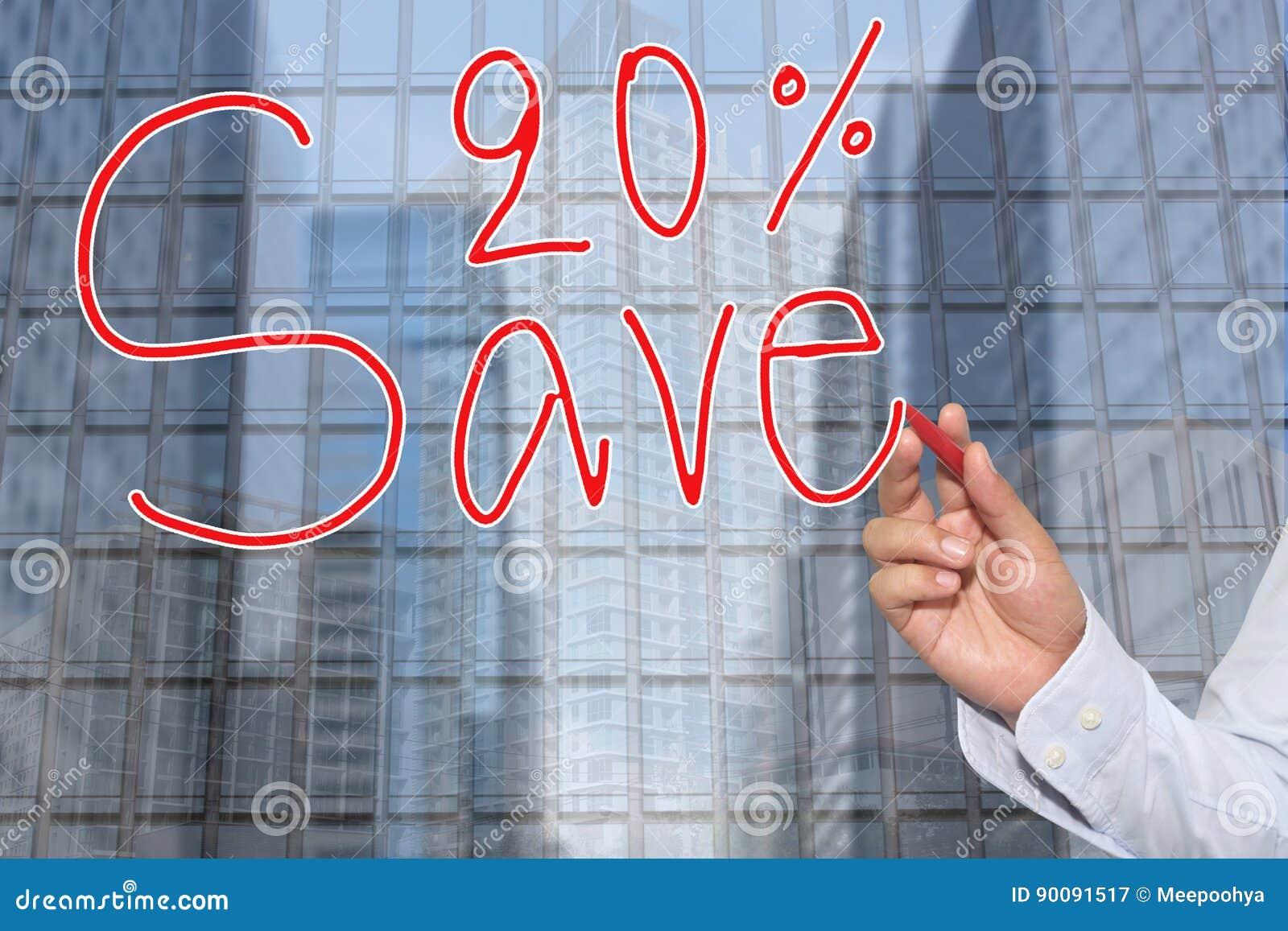 Hand einer Geschäftsmannhand gezeichnet einem Wort von Abwehr 20