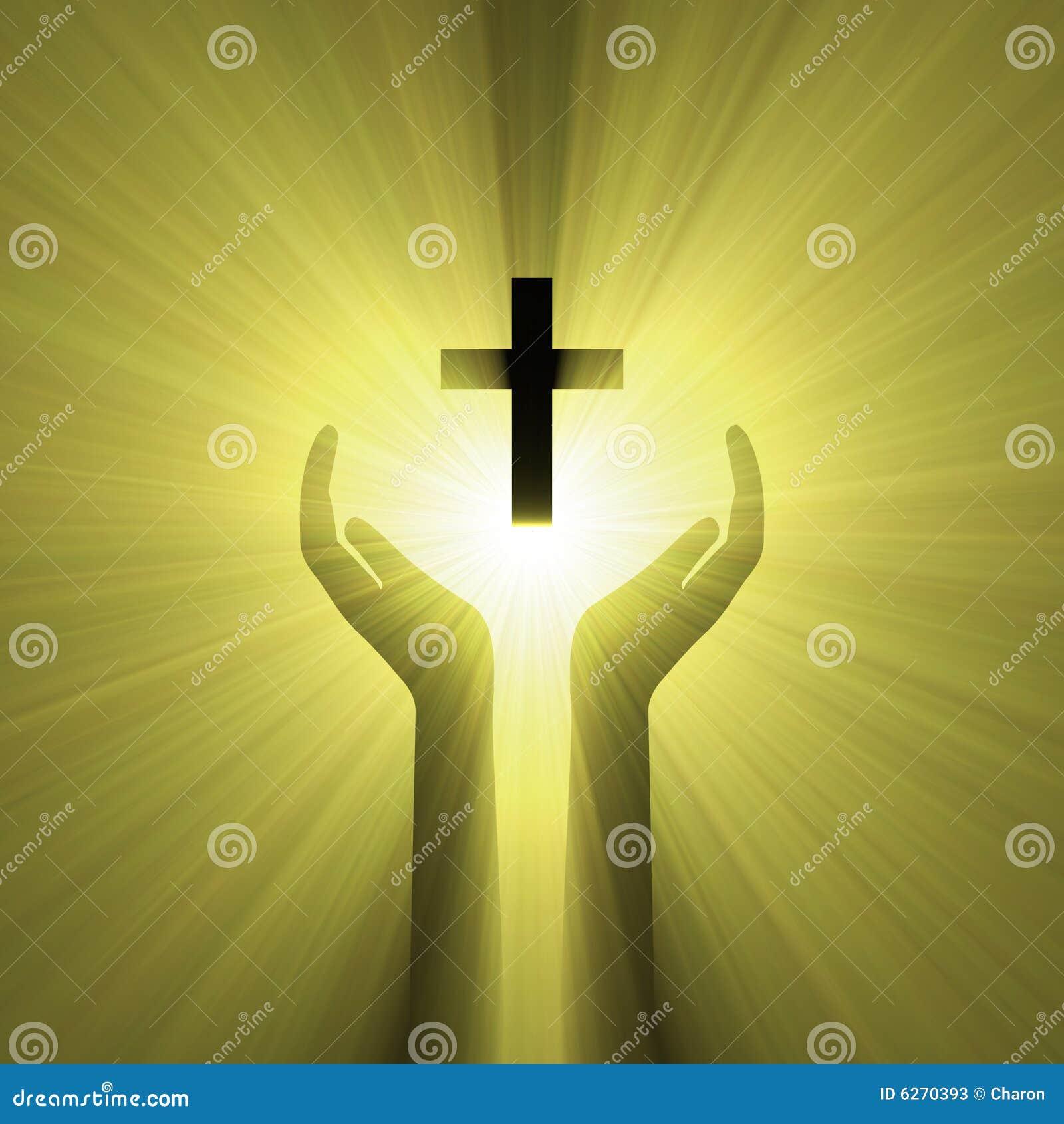 hand embrace god cross light halo stock photos image
