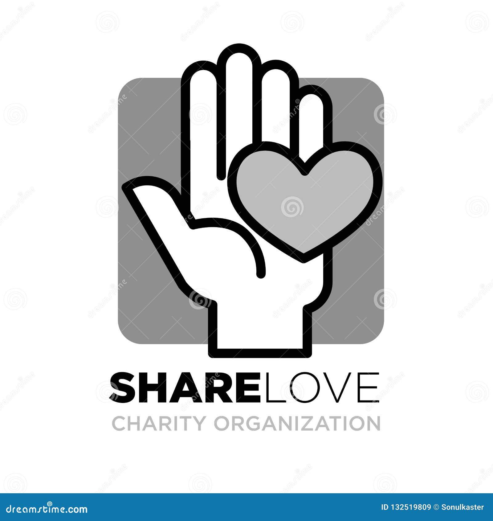 Hand en hartembleemmalplaatje voor sociale schenking en van de liefdadigheidsactie organisatie