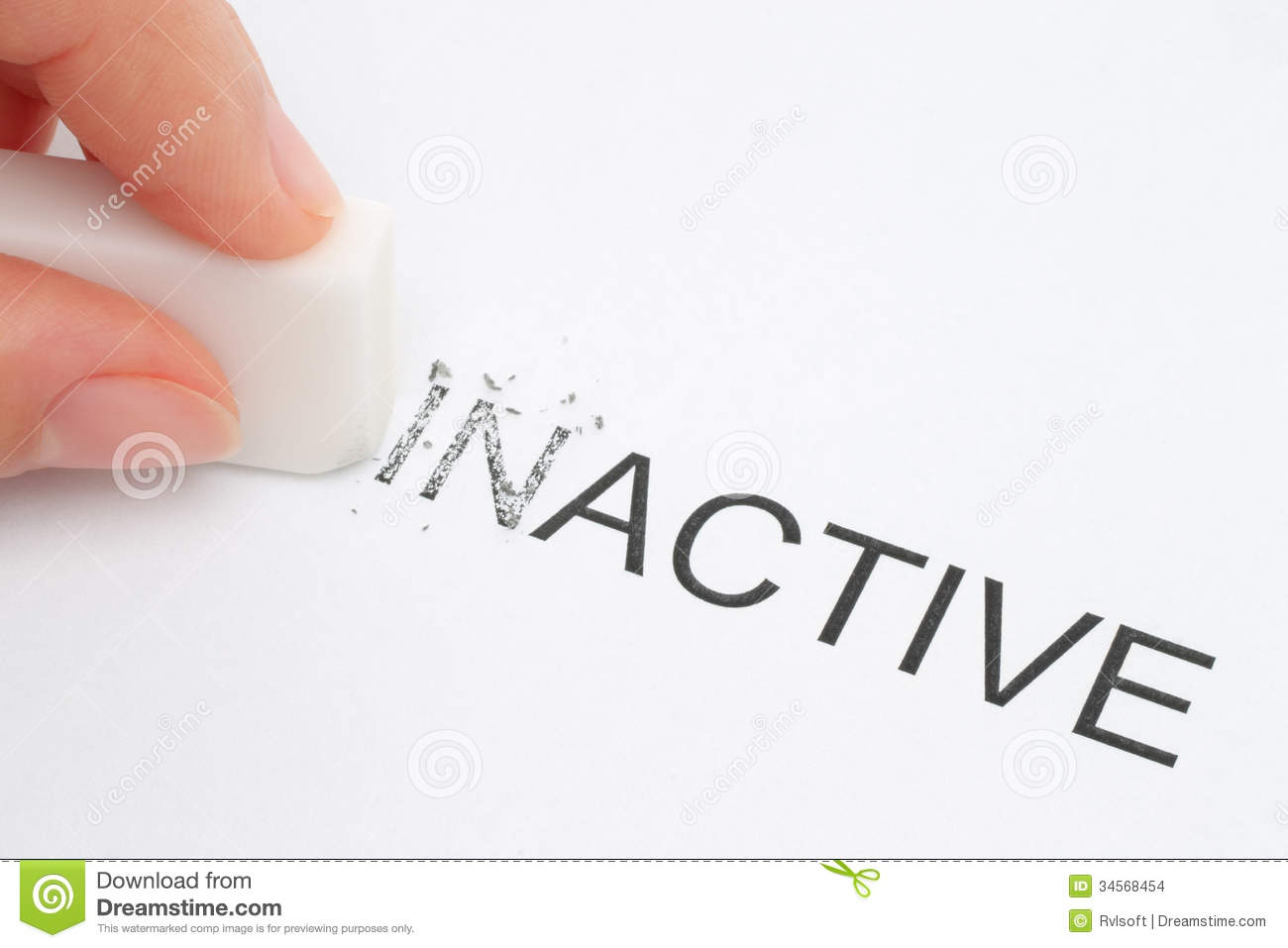 Hand Erasing Part Of The Inactive Word Stock Photo Image