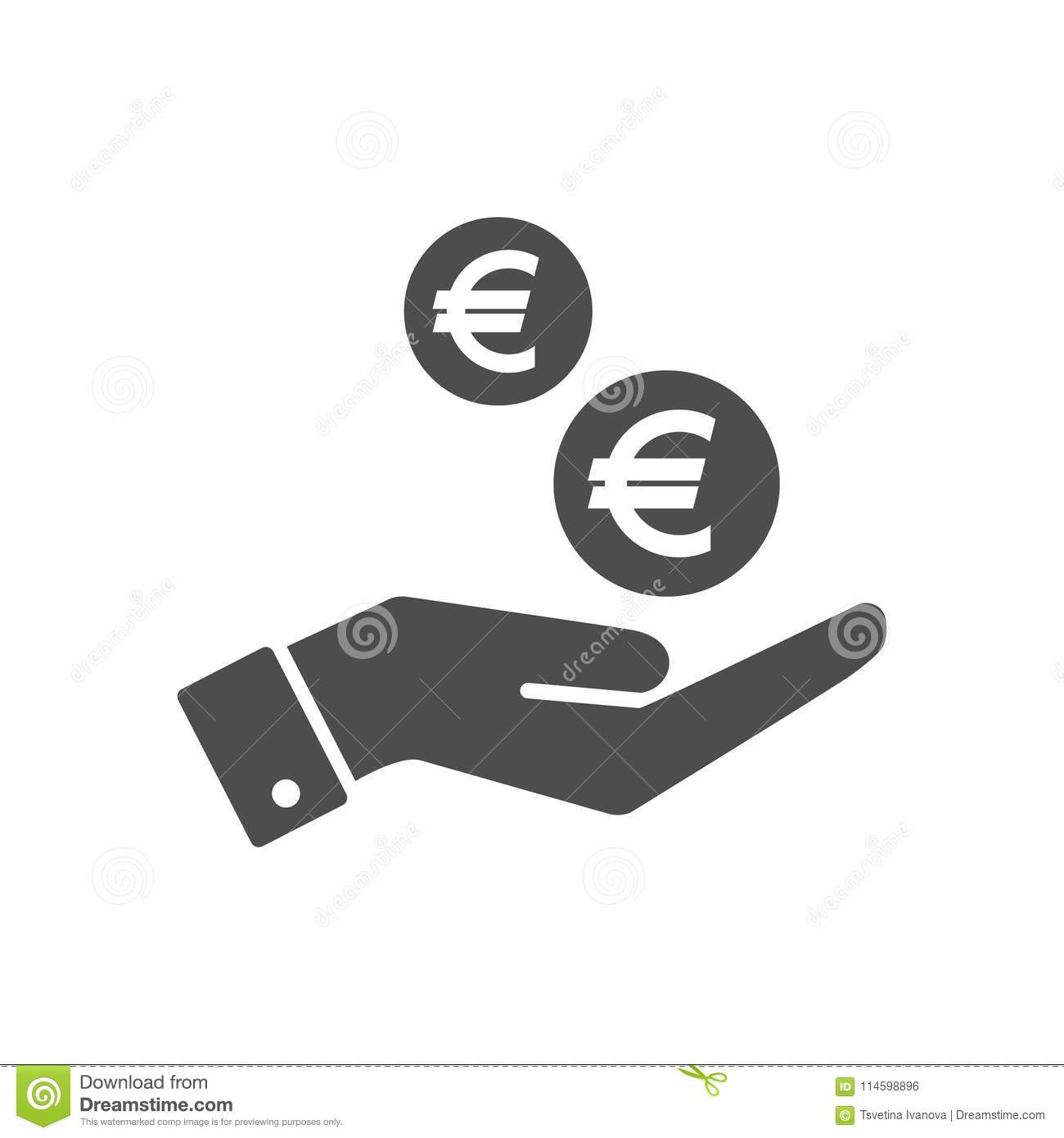 Hand And Euro Cents Coins Dropping Flat Icon Euro Coin And Palm