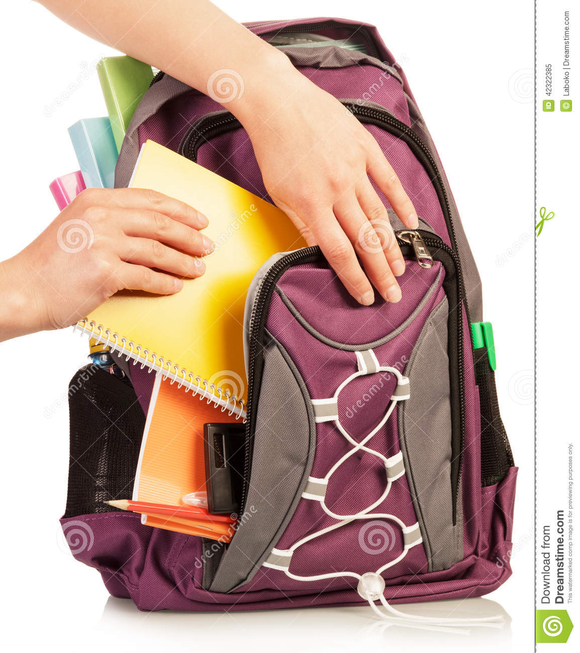 Hand With Exercise Book And Bag Stock Photo Image 42322385