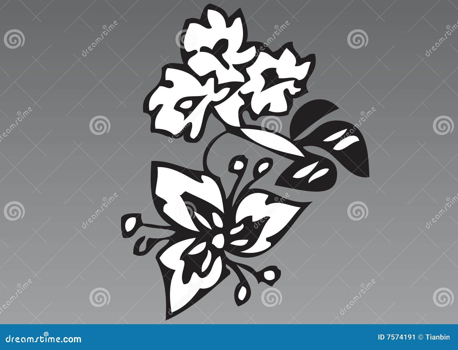 Hand för 2 tecknad blommor