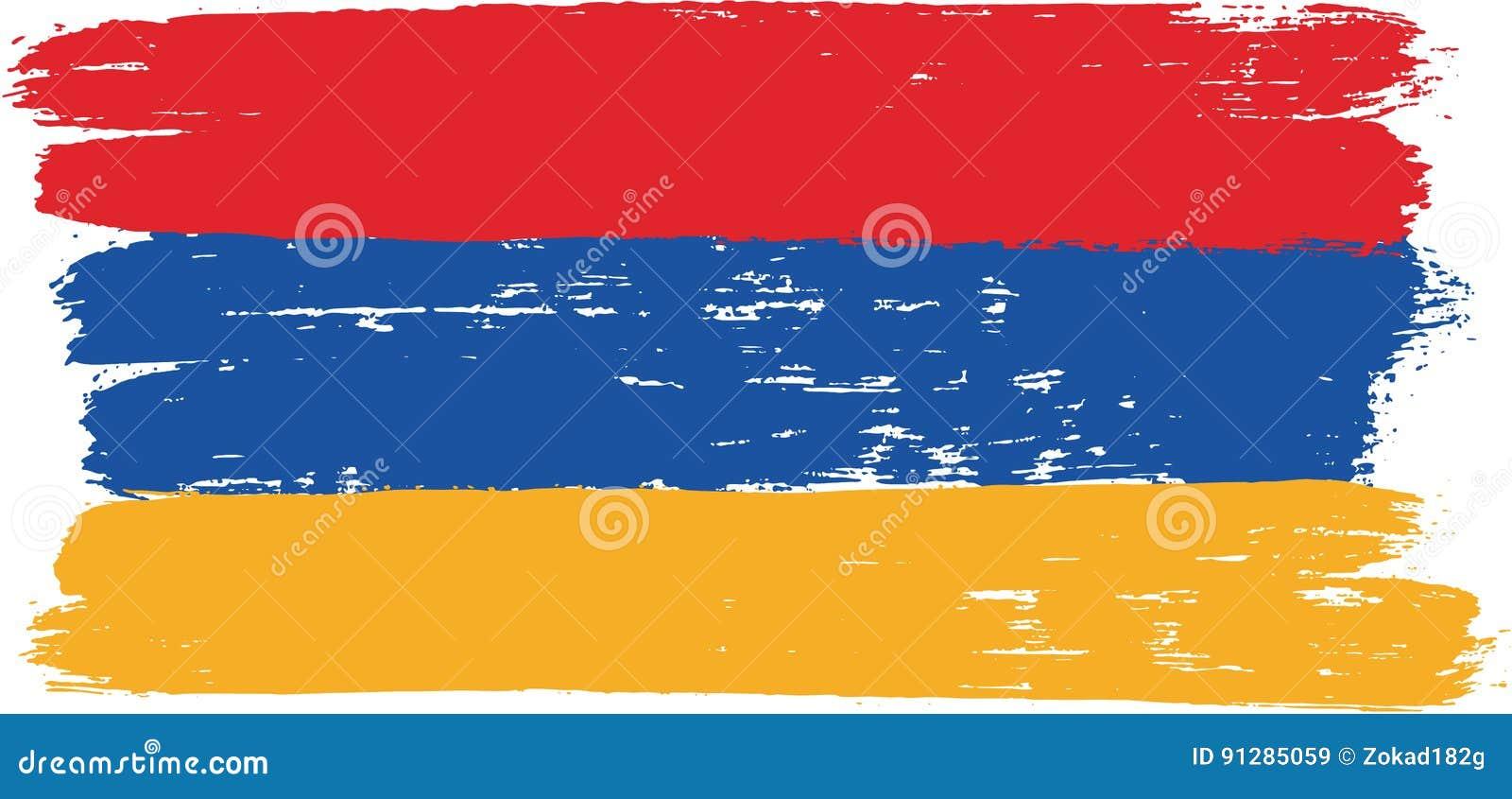 Hand för Armenien flaggavektor som målas med den rundade borsten