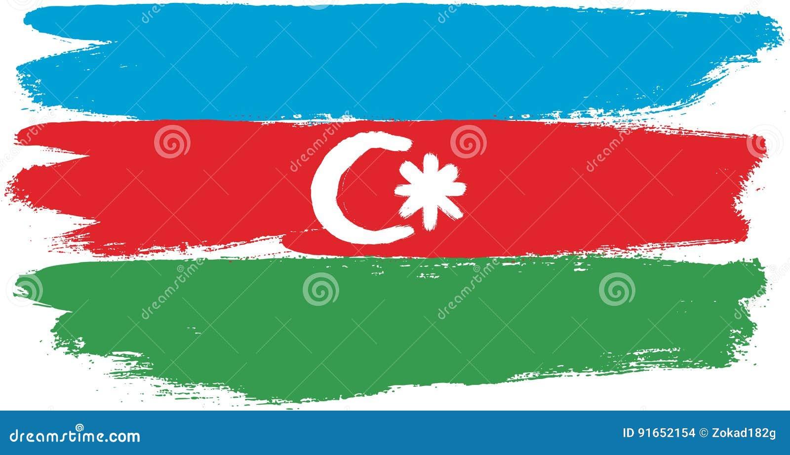Hand för Azerbajdzjan flaggavektor som målas med den rundade borsten