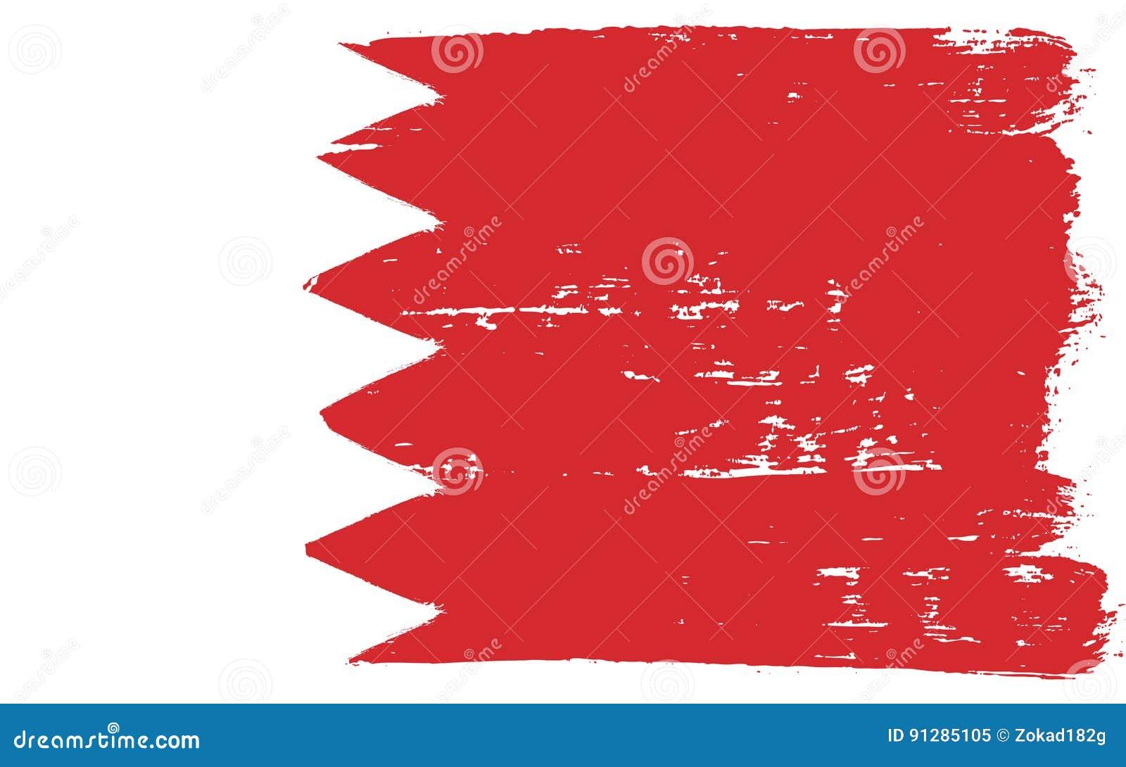 Hand för Bahrain flaggavektor som målas med den rundade borsten