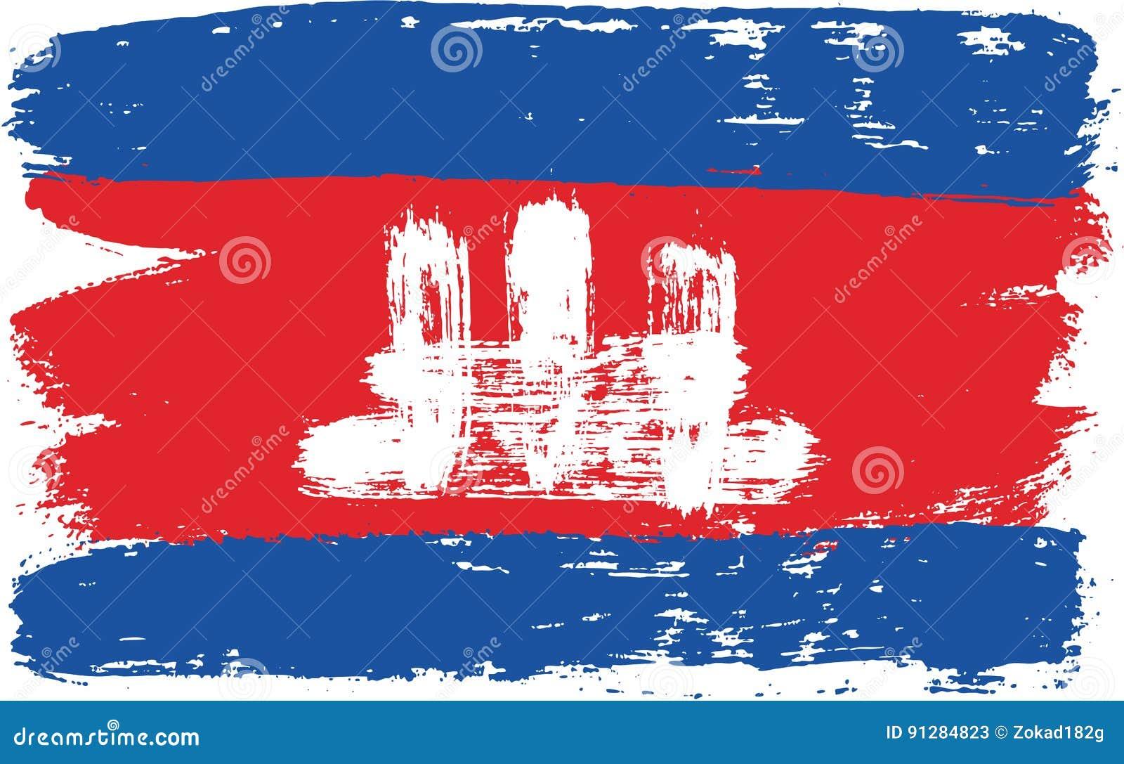 Hand för Cambodja flaggavektor som målas med den rundade borsten