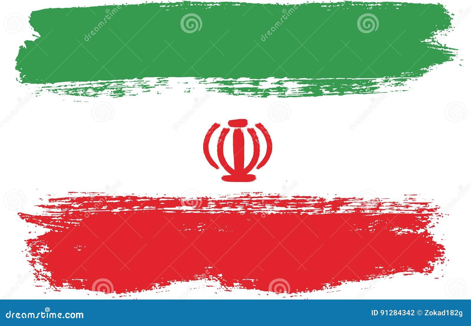 Hand för Iran flaggavektor som målas med den rundade borsten