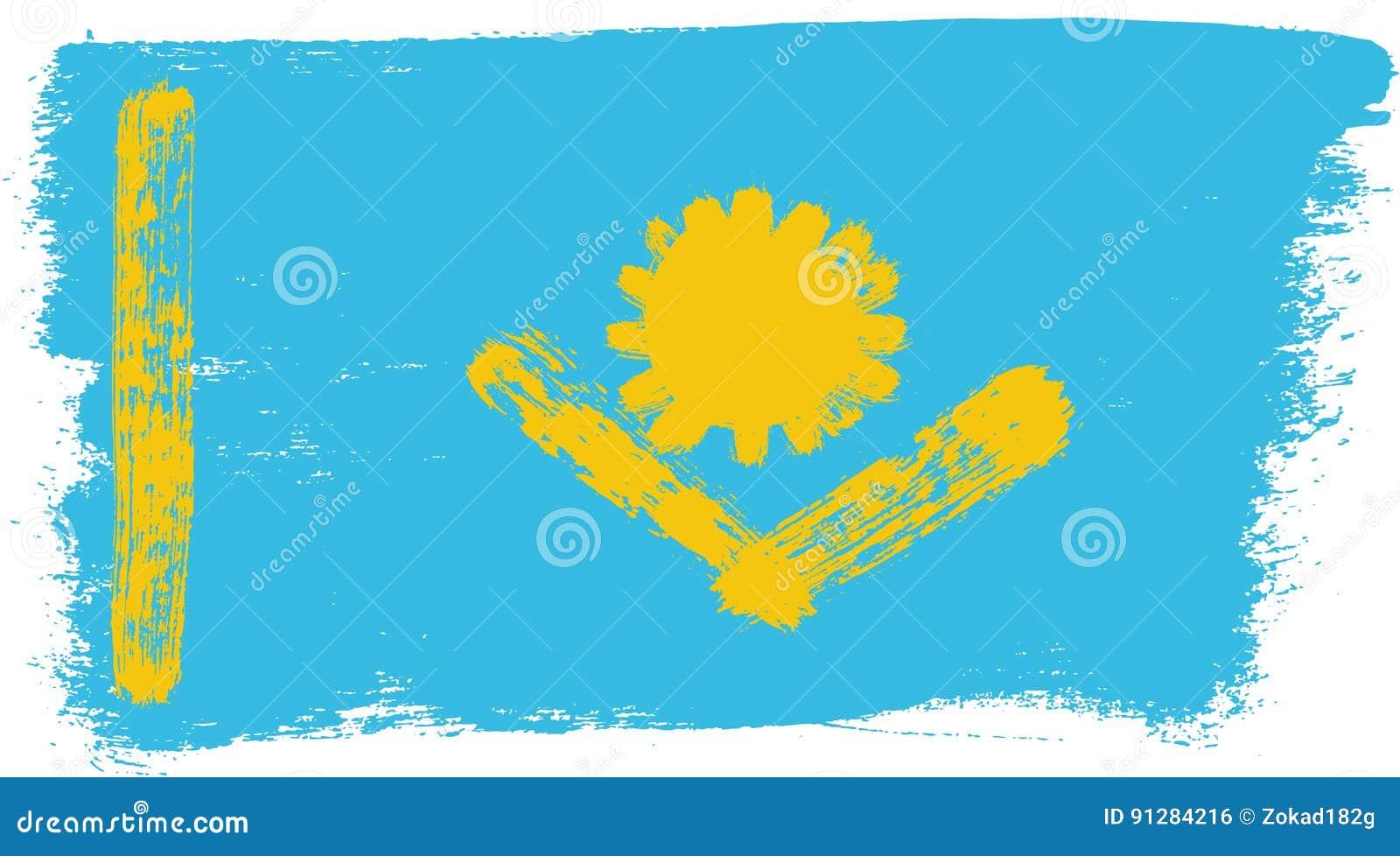 Hand för Kasakhstan flaggavektor som målas med den rundade borsten