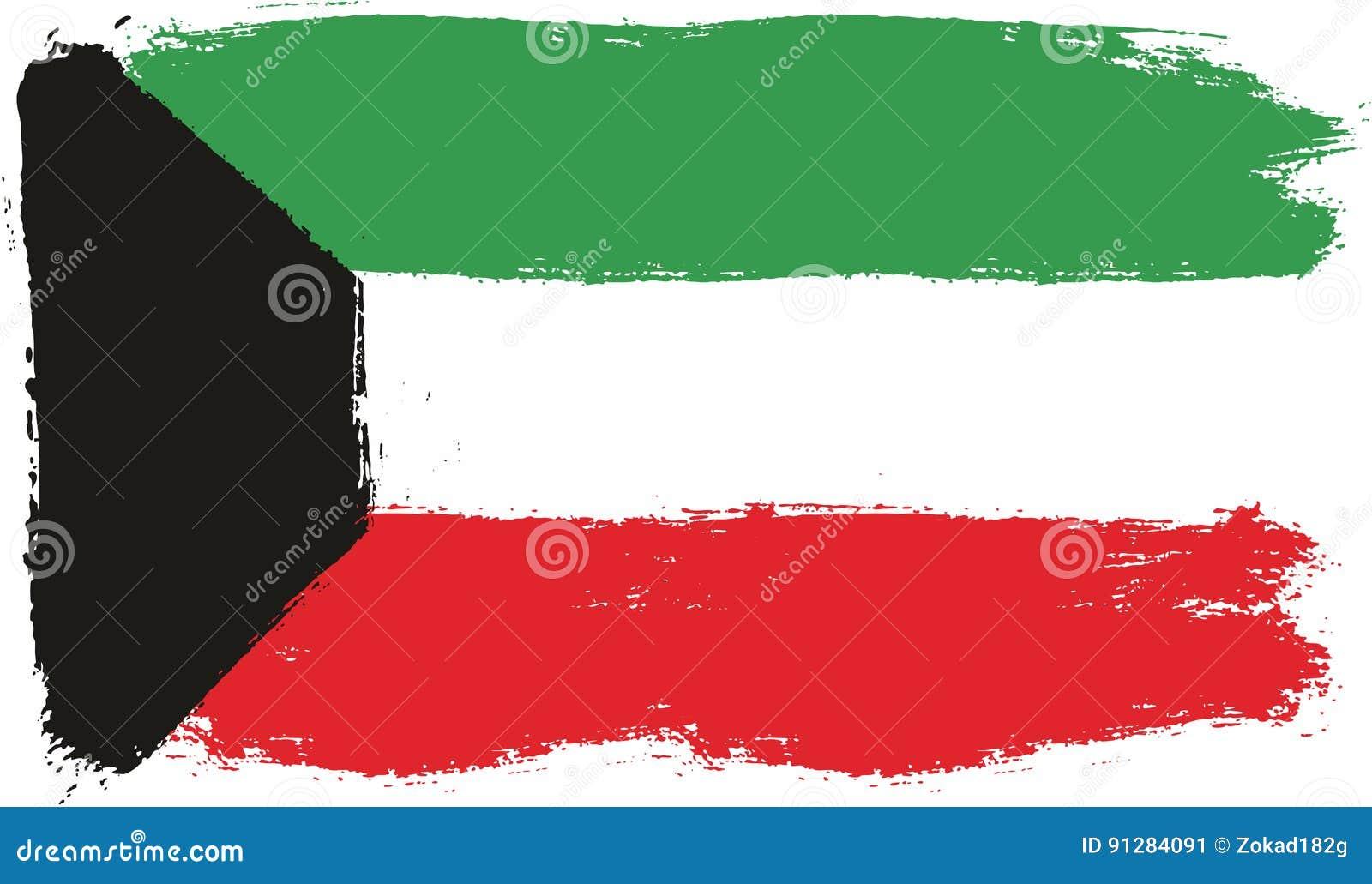 Hand för Kuwait flaggavektor som målas med den rundade borsten