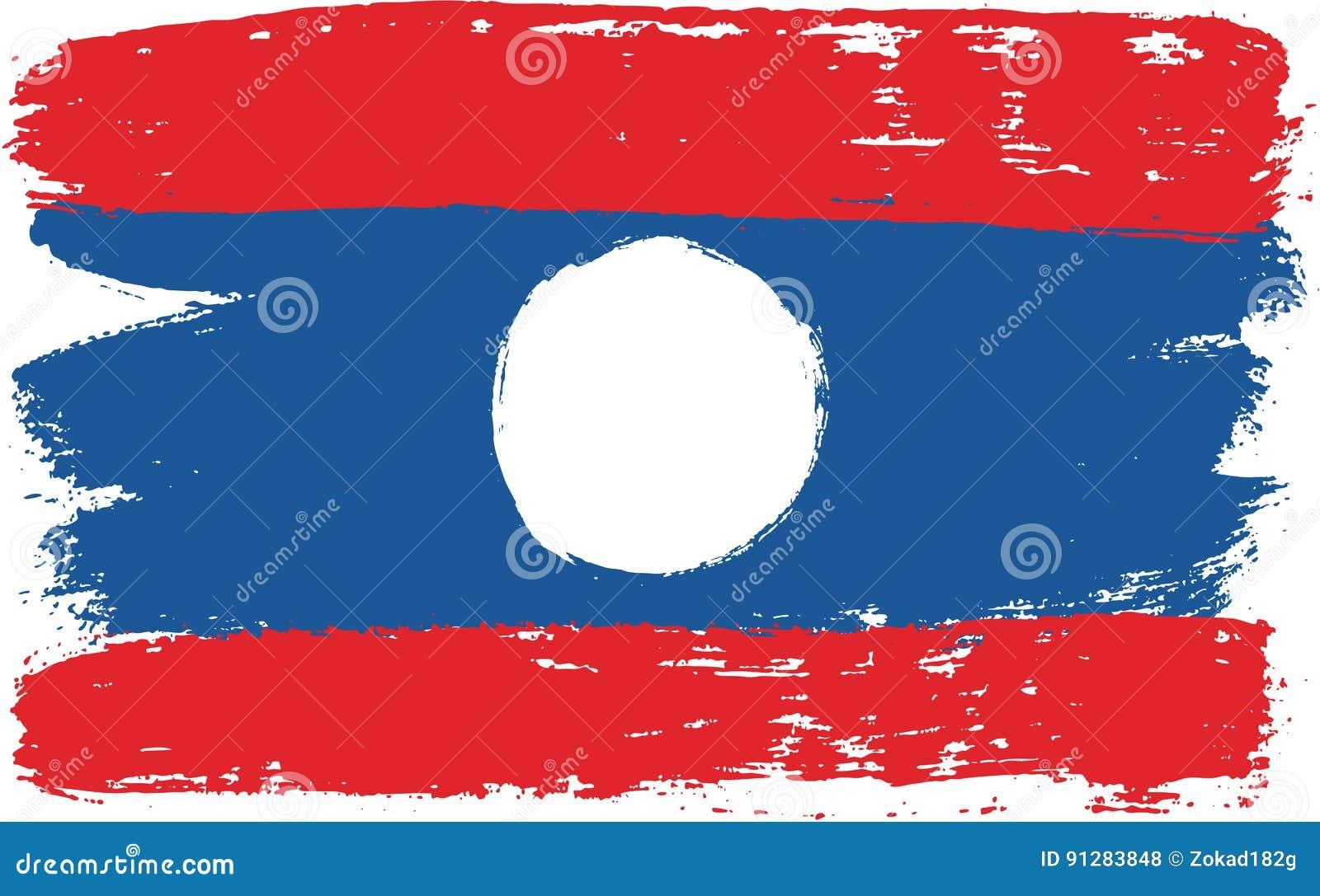 Hand för Laos flaggavektor som målas med den rundade borsten