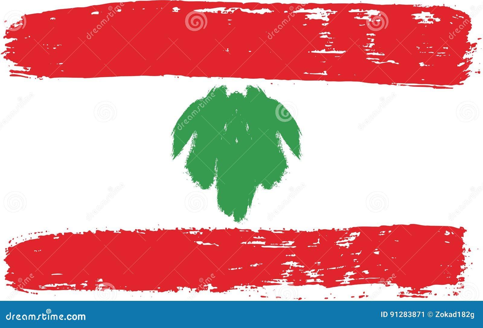 Hand för Libanon flaggavektor som målas med den rundade borsten