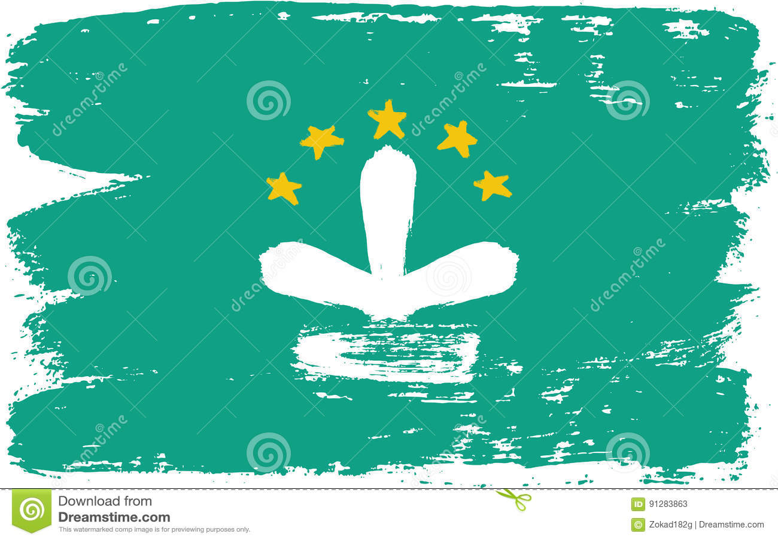 Hand för Macao flaggavektor som målas med den rundade borsten