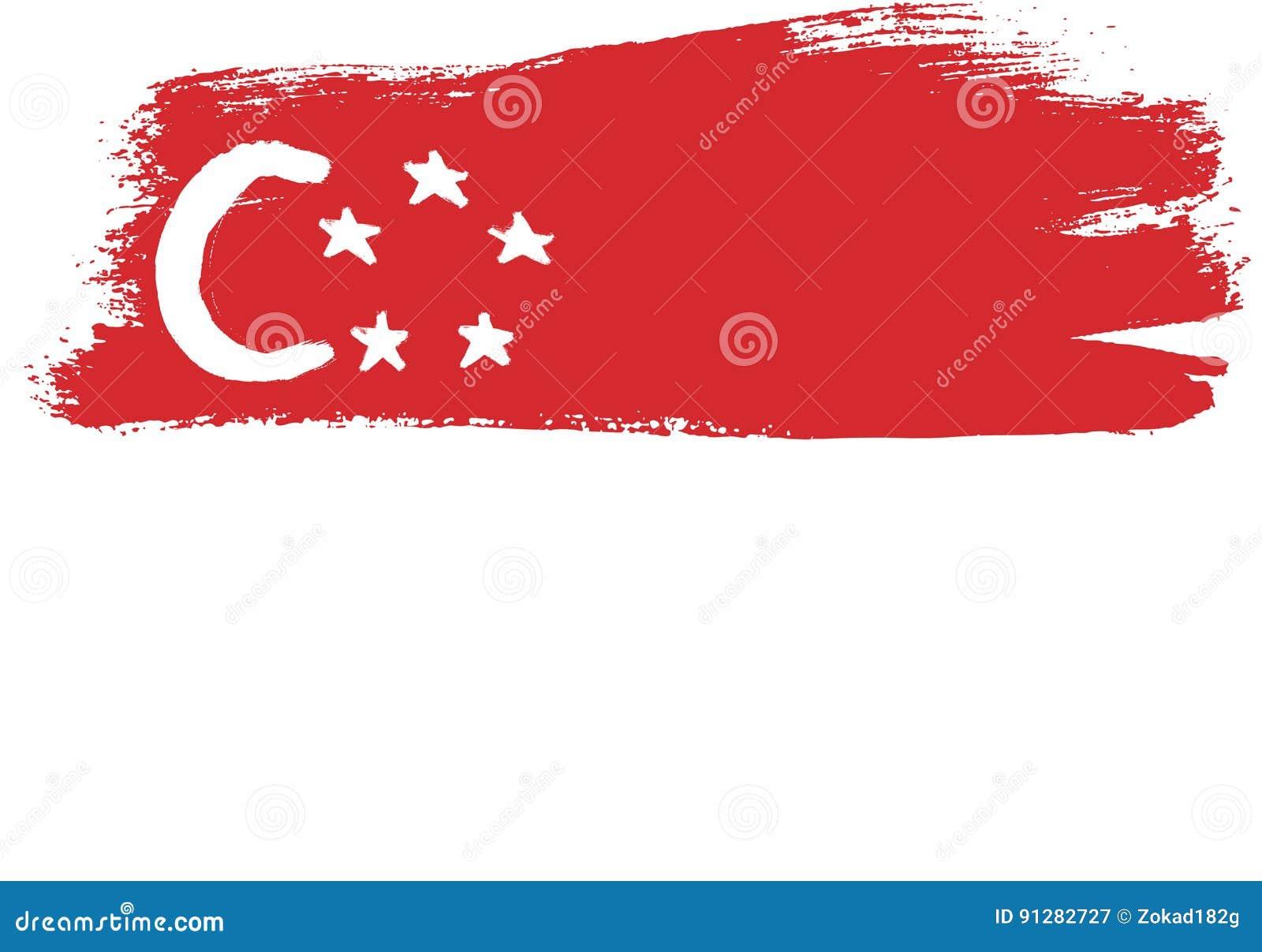 Hand för Singapore flaggavektor som målas med den rundade borsten