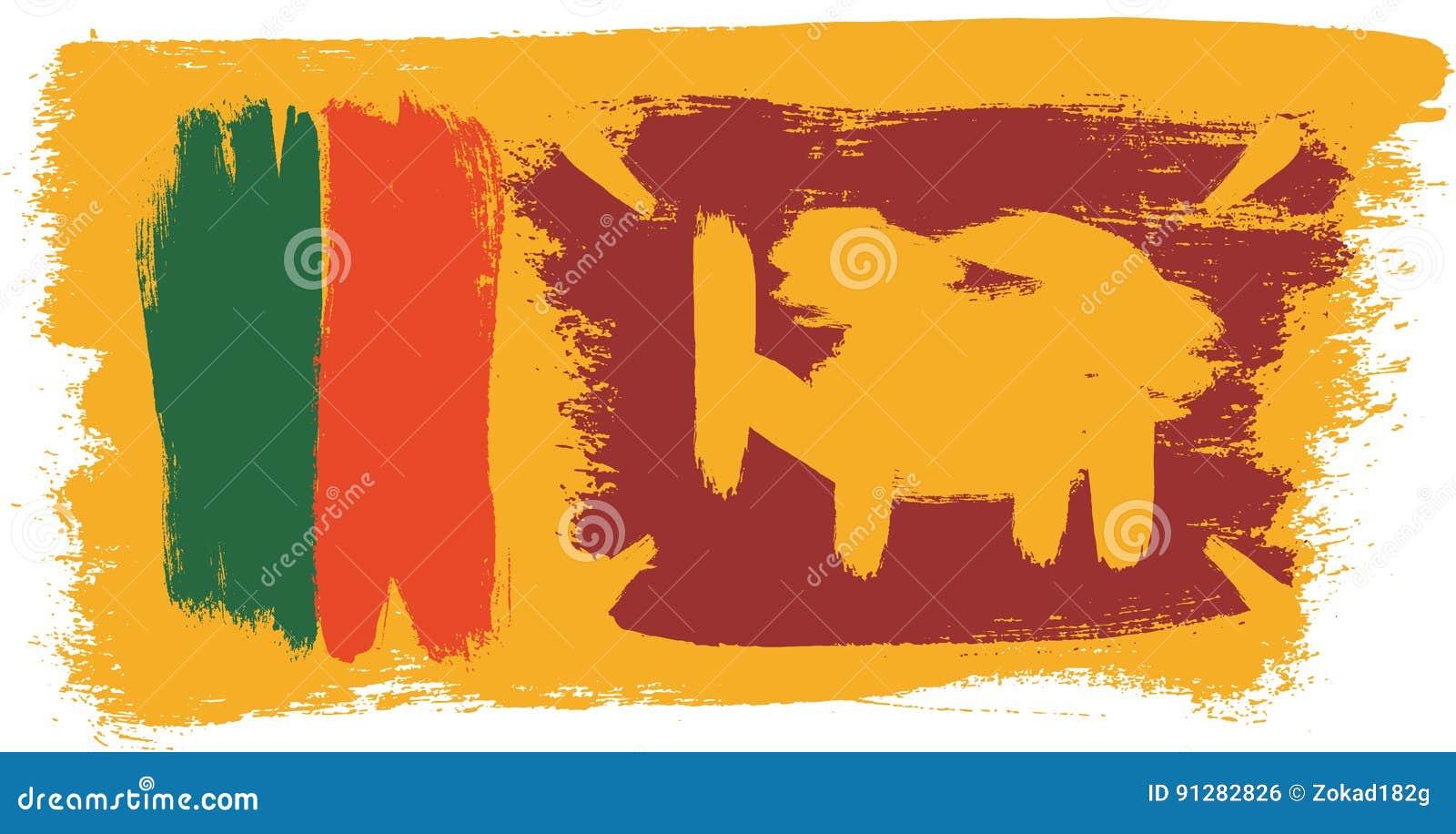 Hand för Sri Lanka flaggavektor som målas med den rundade borsten