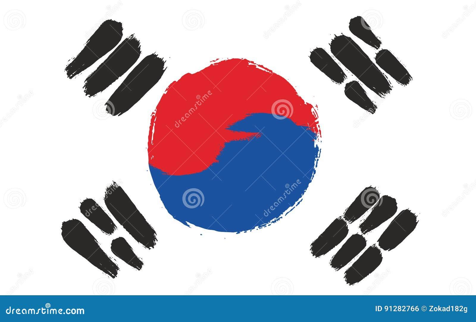 Hand för Sydkorea flaggavektor som målas med den rundade borsten
