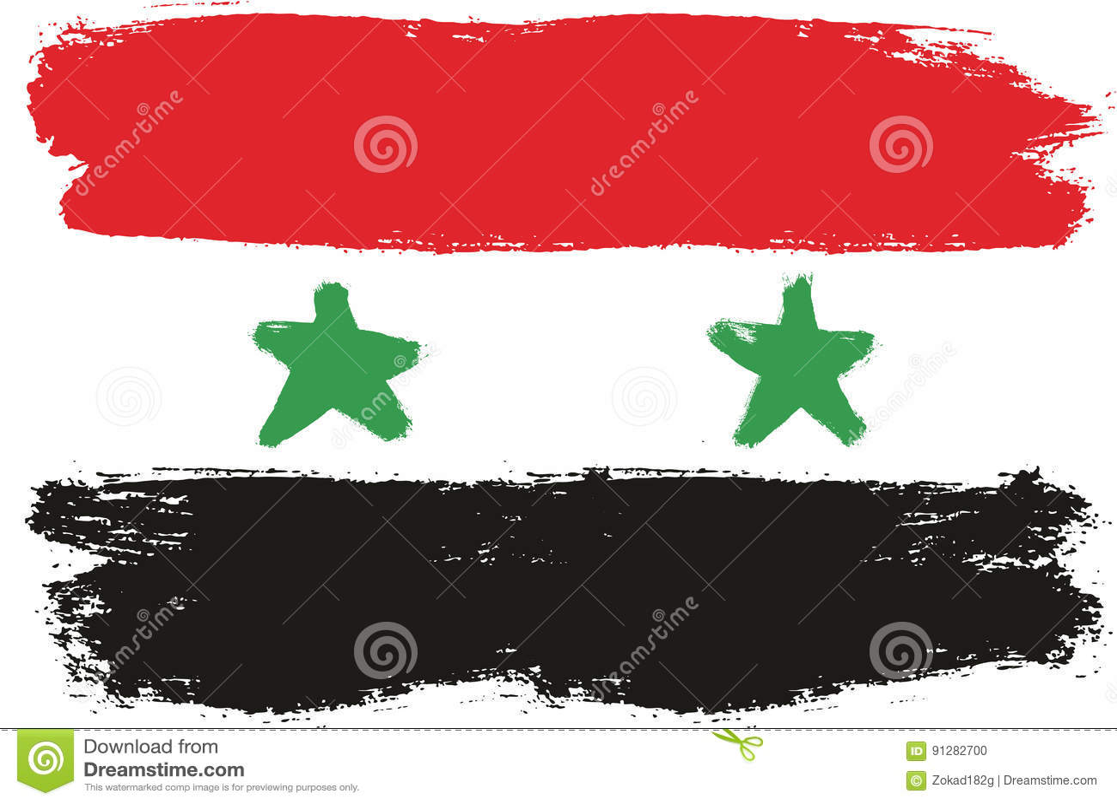 Hand för Syrien flaggavektor som målas med den rundade borsten