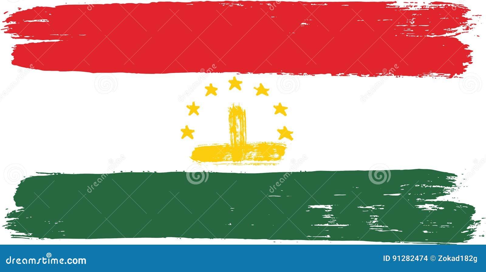 Hand för Tadzjikistan flaggavektor som målas med den rundade borsten