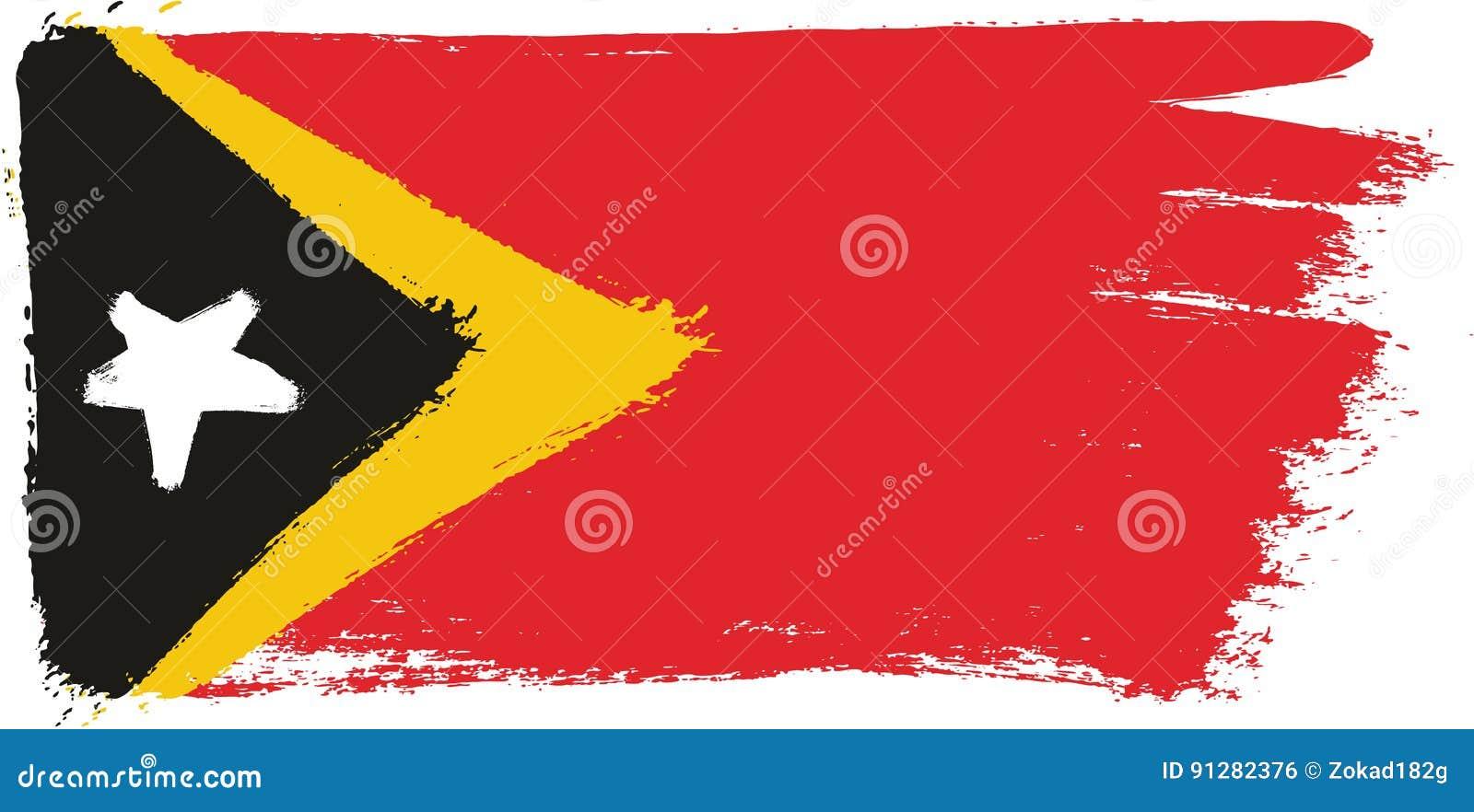 Hand för Timor-Leste flaggavektor som målas med den rundade borsten