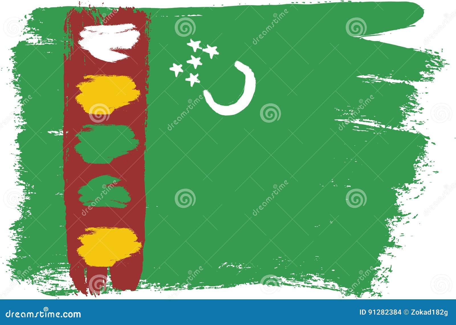 Hand för Turkmenistan flaggavektor som målas med den rundade borsten