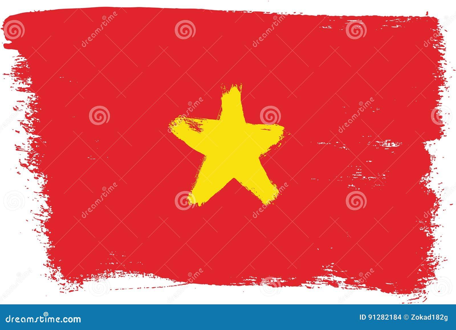 Hand för Vietnam flaggavektor som målas med den rundade borsten