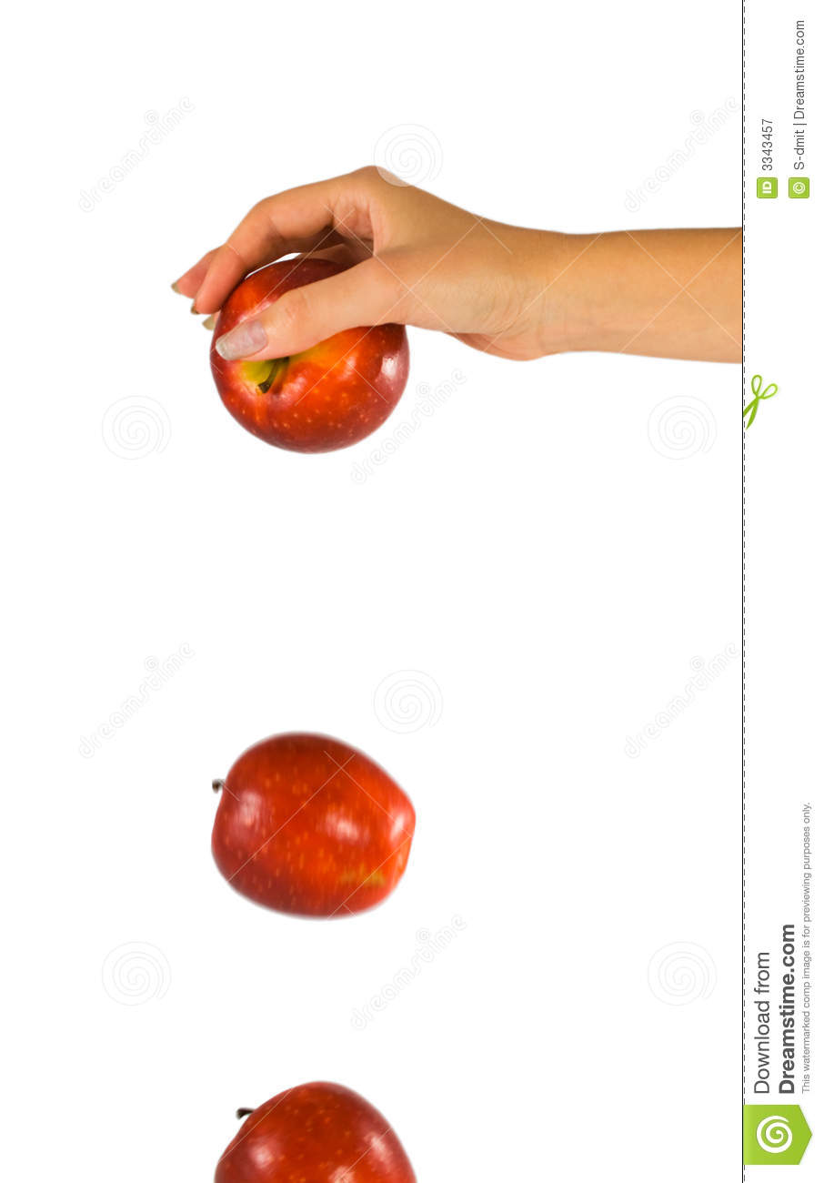 Hand With Falling Apple Royalty Free Stock Photography - Image ...