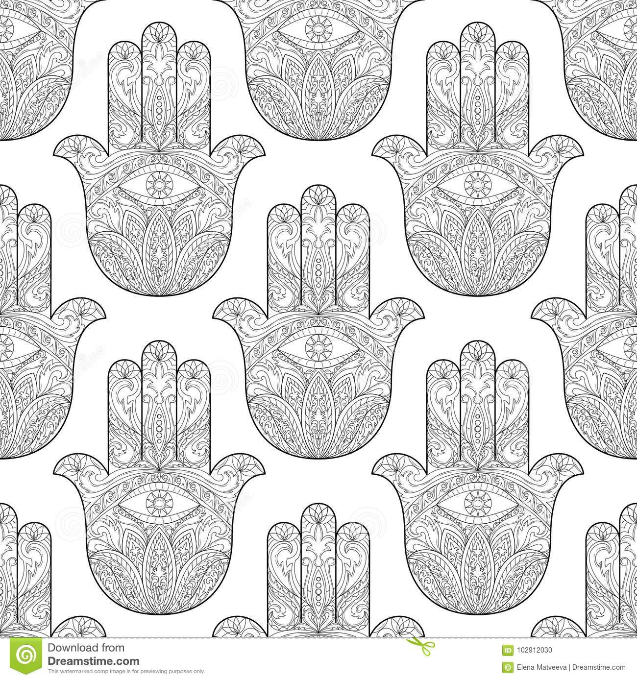 Ornate Hand Drawn Hamsa Seamless Pattern Of Fatima Arabic Indian And Jewish Wallpaper With Amulet Coloring Page