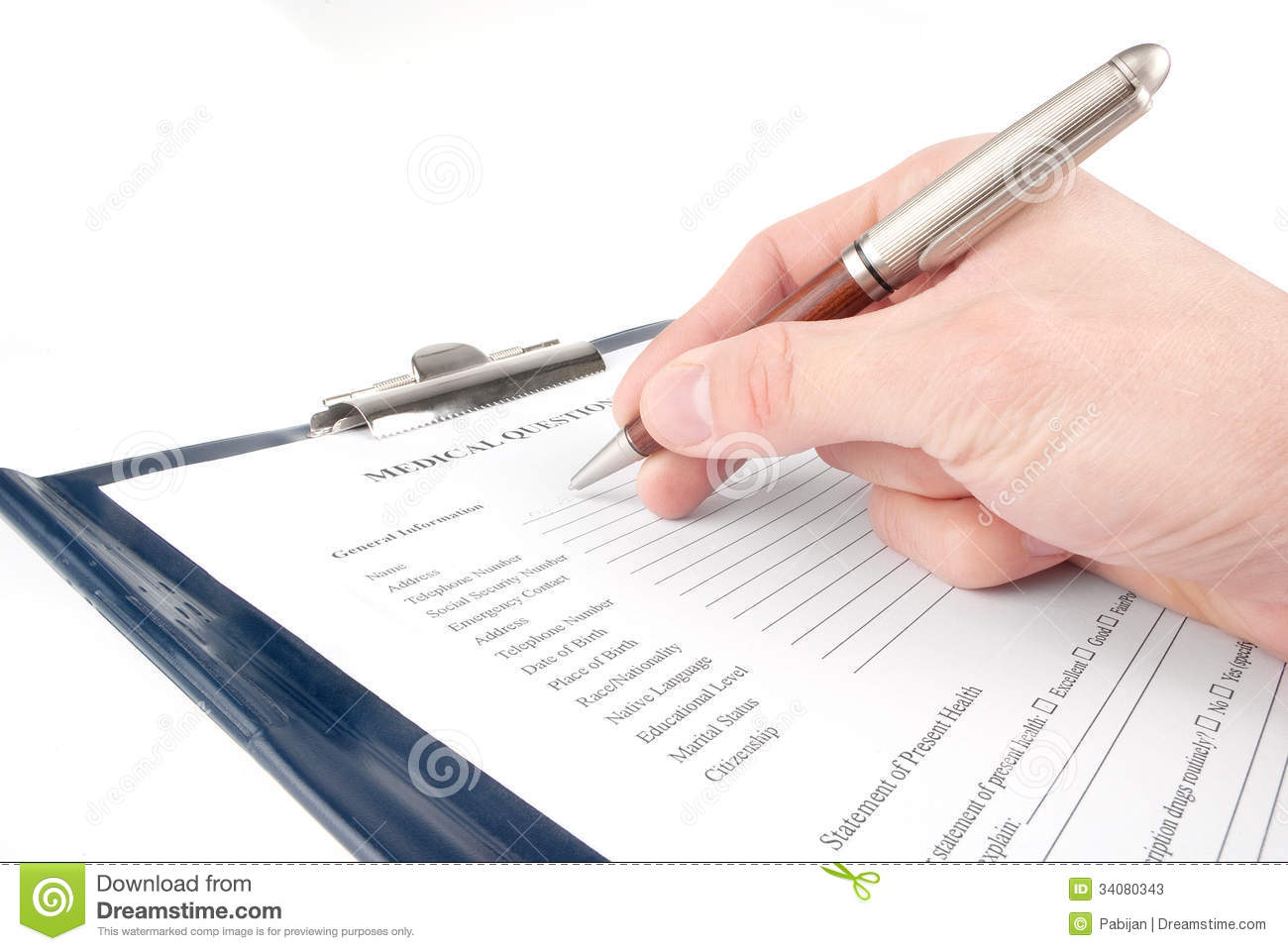 hand filling in medical questionnaire form stock image image of