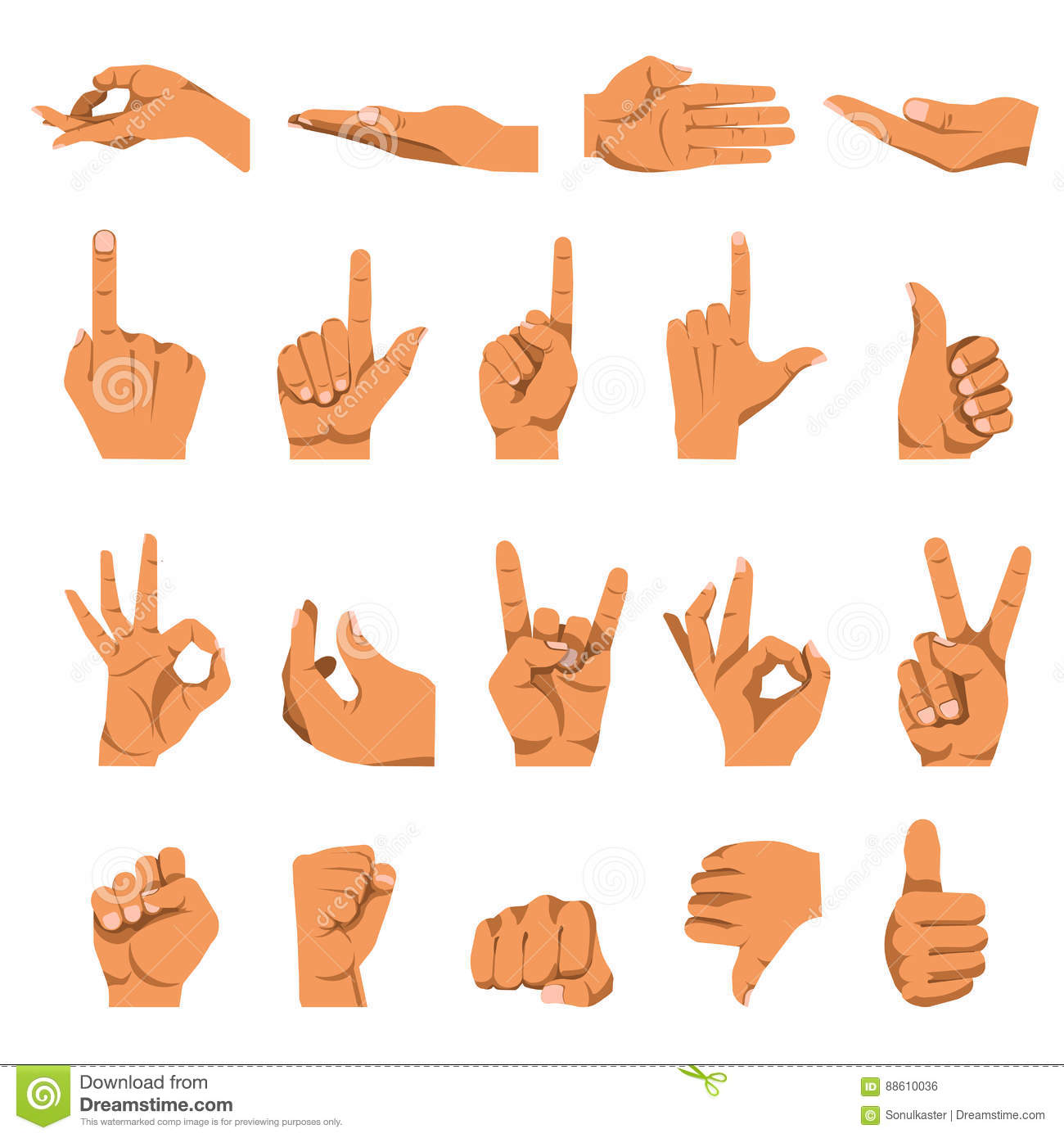 Hand And Finger Gestures Vector Flat Isolated Icons Set Stock Vector