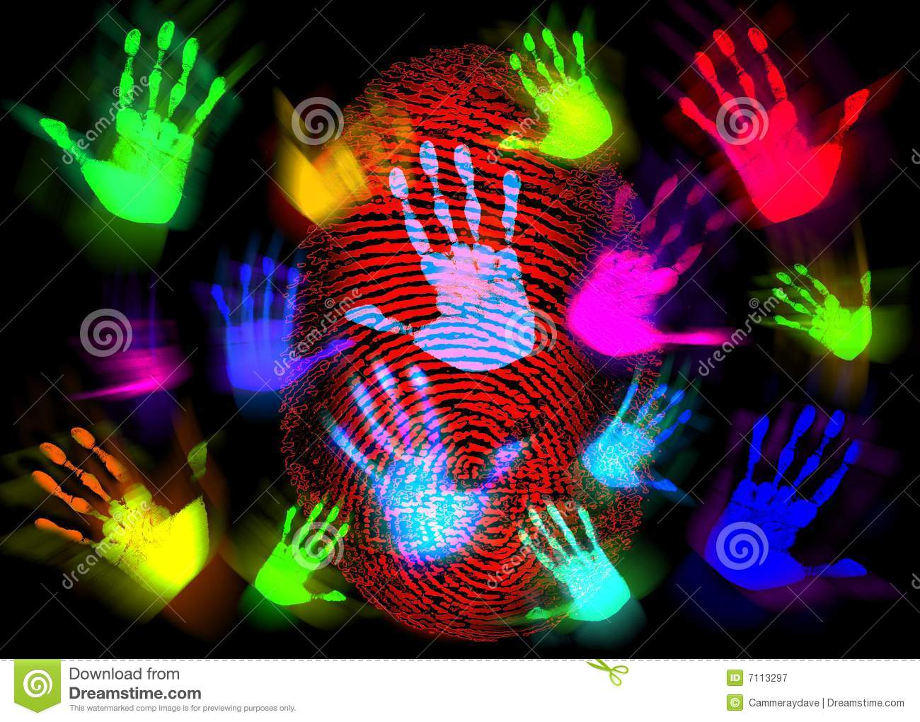 Hand Finger Print Colorful