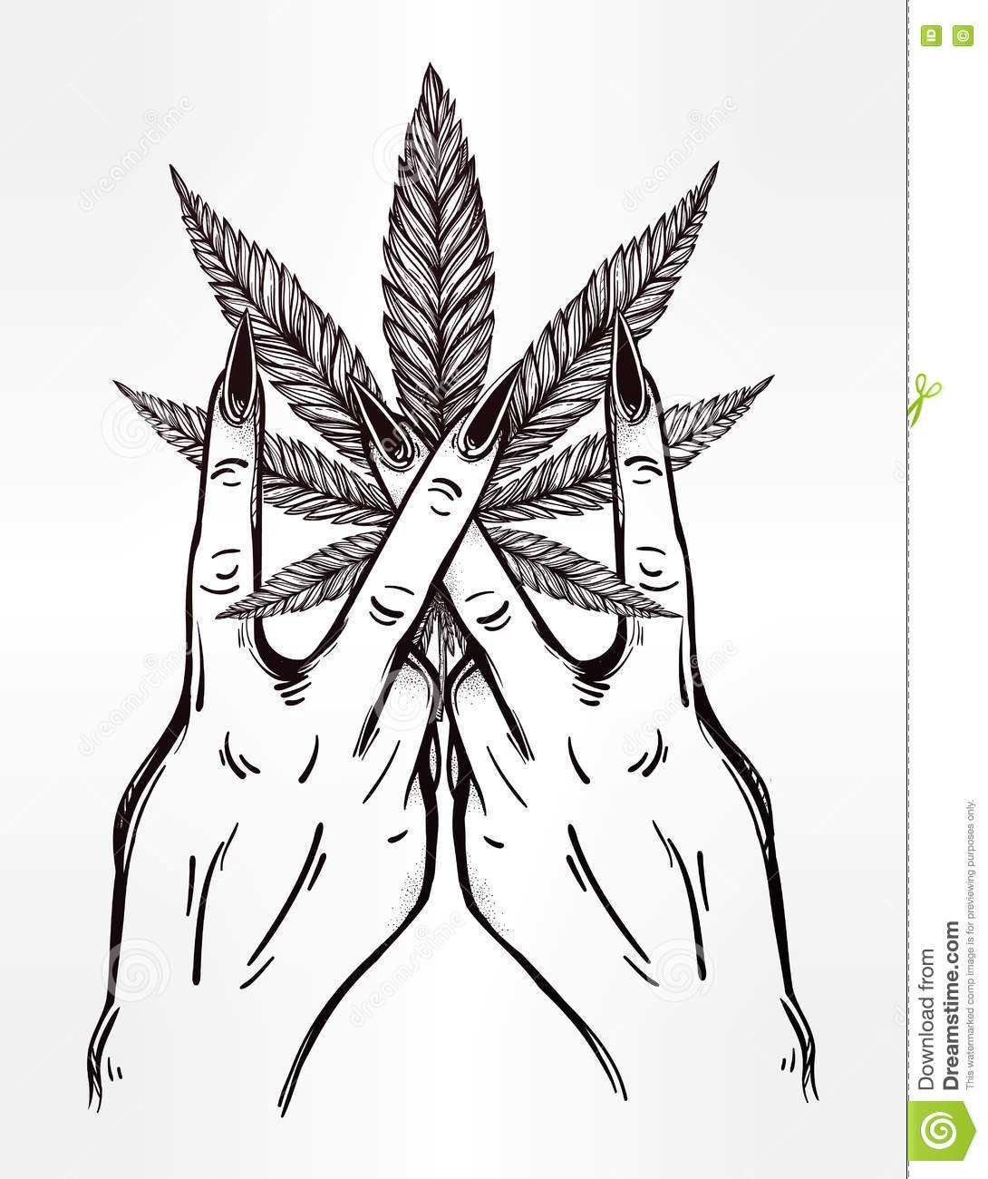Hand And Fingers With Marijuana Leaf. Stock Vector