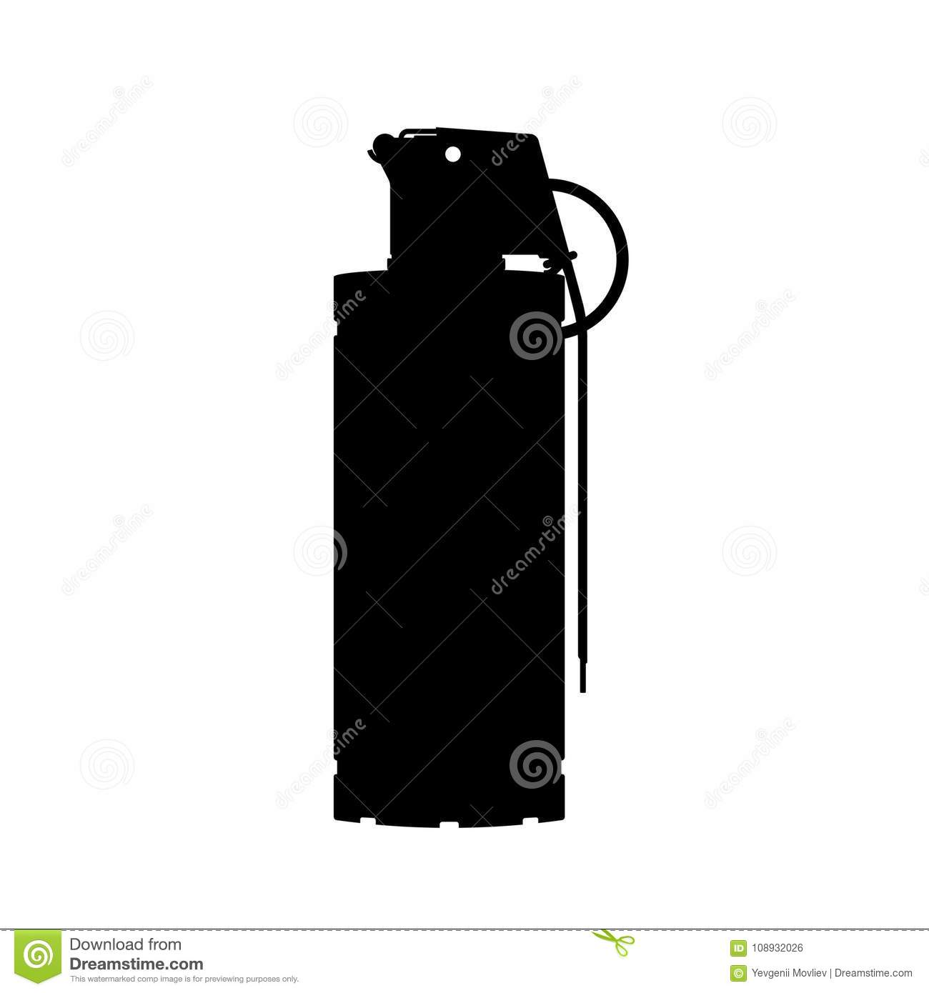 Hand flash grenade of special forces. Black silhouette of anti-terrorist ammunition. Police explosive. Weapon icon
