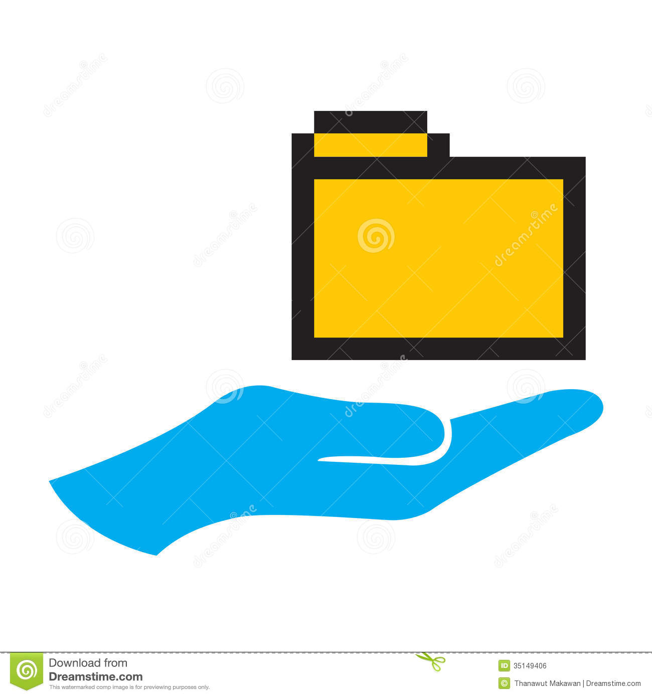 Hand and folder icon. hand holding a folder icon, isolated symbol ...