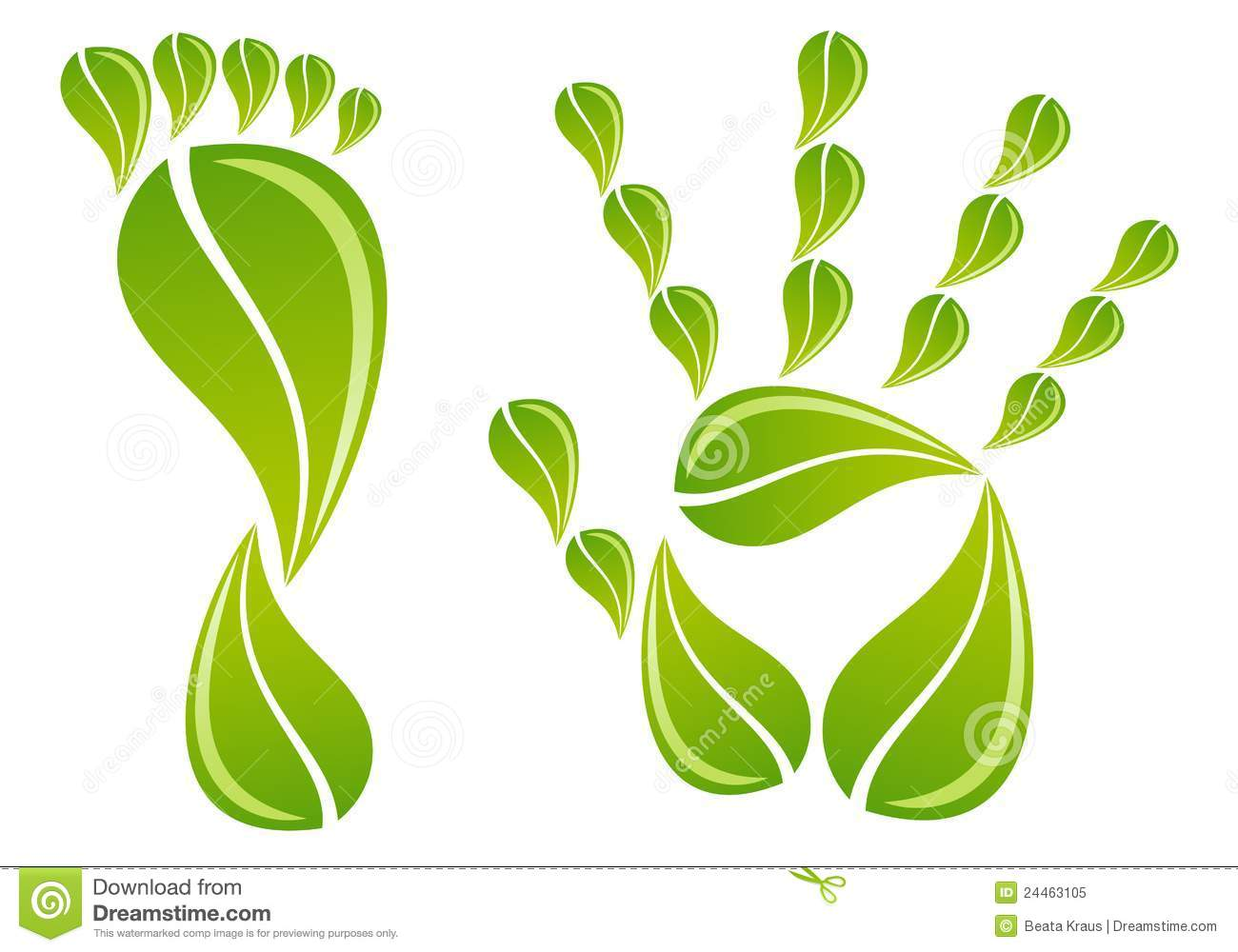 Hand and foot with leaves, vector