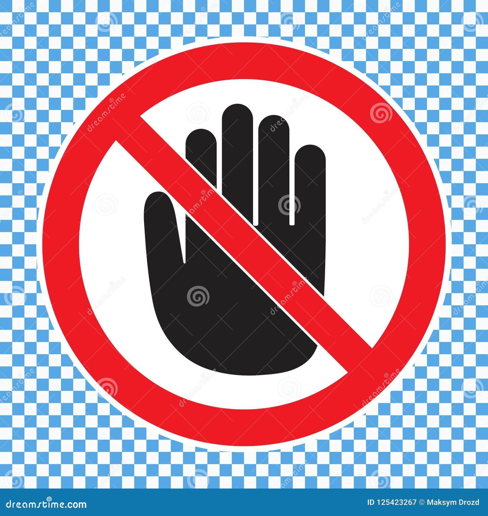 Symbol Stop Black And Red Color. Cartoon Vector