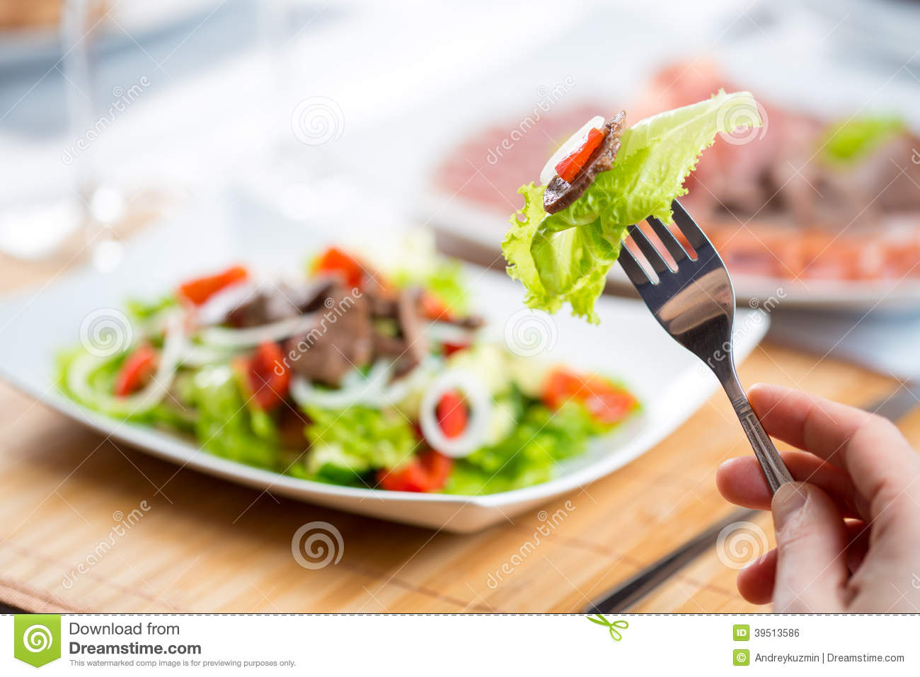 Hand with fork and vegetable salad with beef