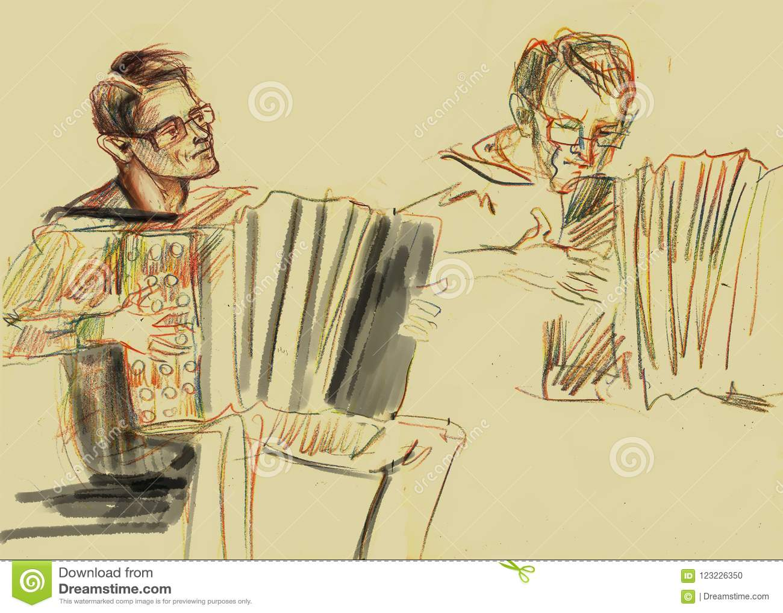 Hand - gemaakte Schets van accordeonist speelmuziek op stadiumpotlood op het document