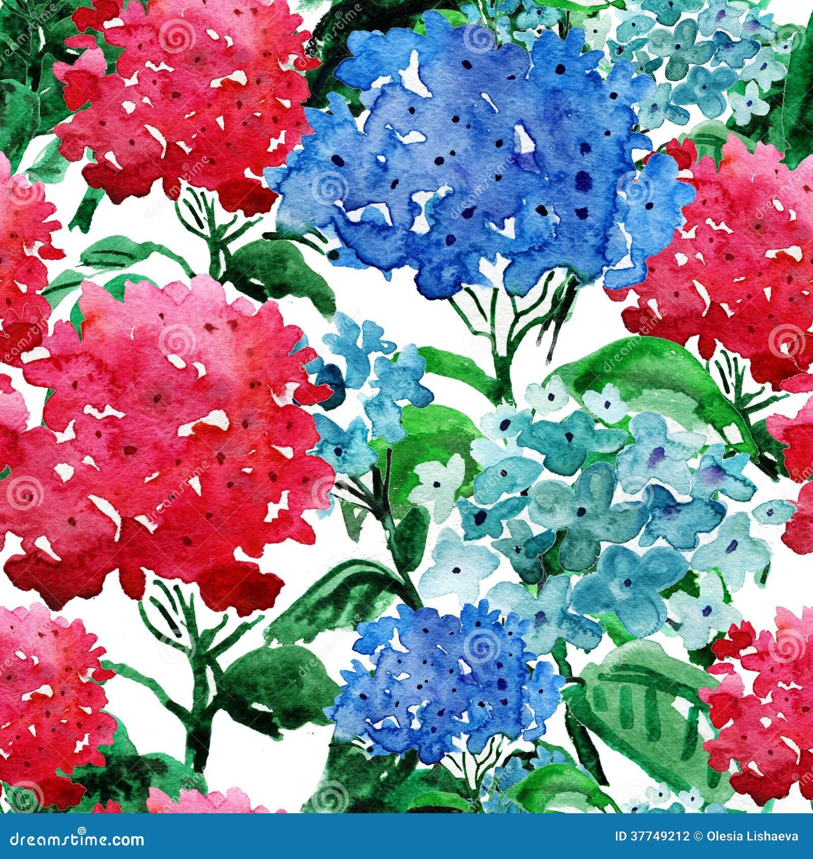 Hand geschilderde achtergronden met hydrangea hortensia.