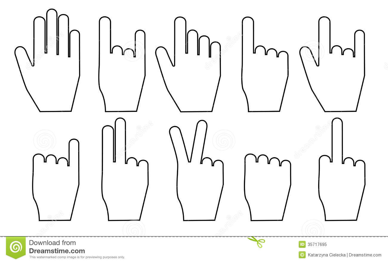Hand Gesture Set Stock Vector Illustration Of Palm Victory 35717695