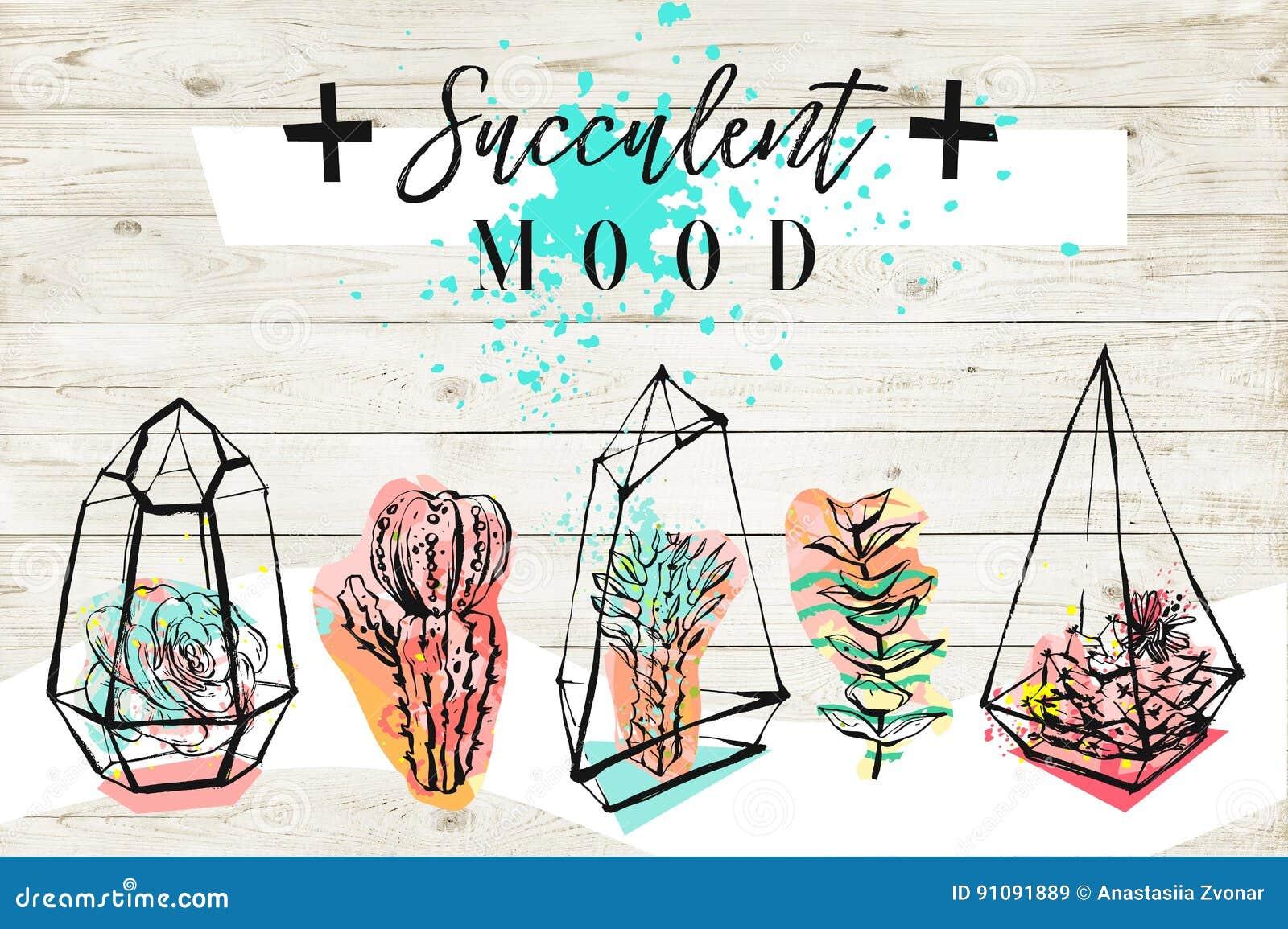 Hand getrokken abstracte geweven illustratie met succulente installaties in terrariums, kruisen, succulente stemmings moderne kal